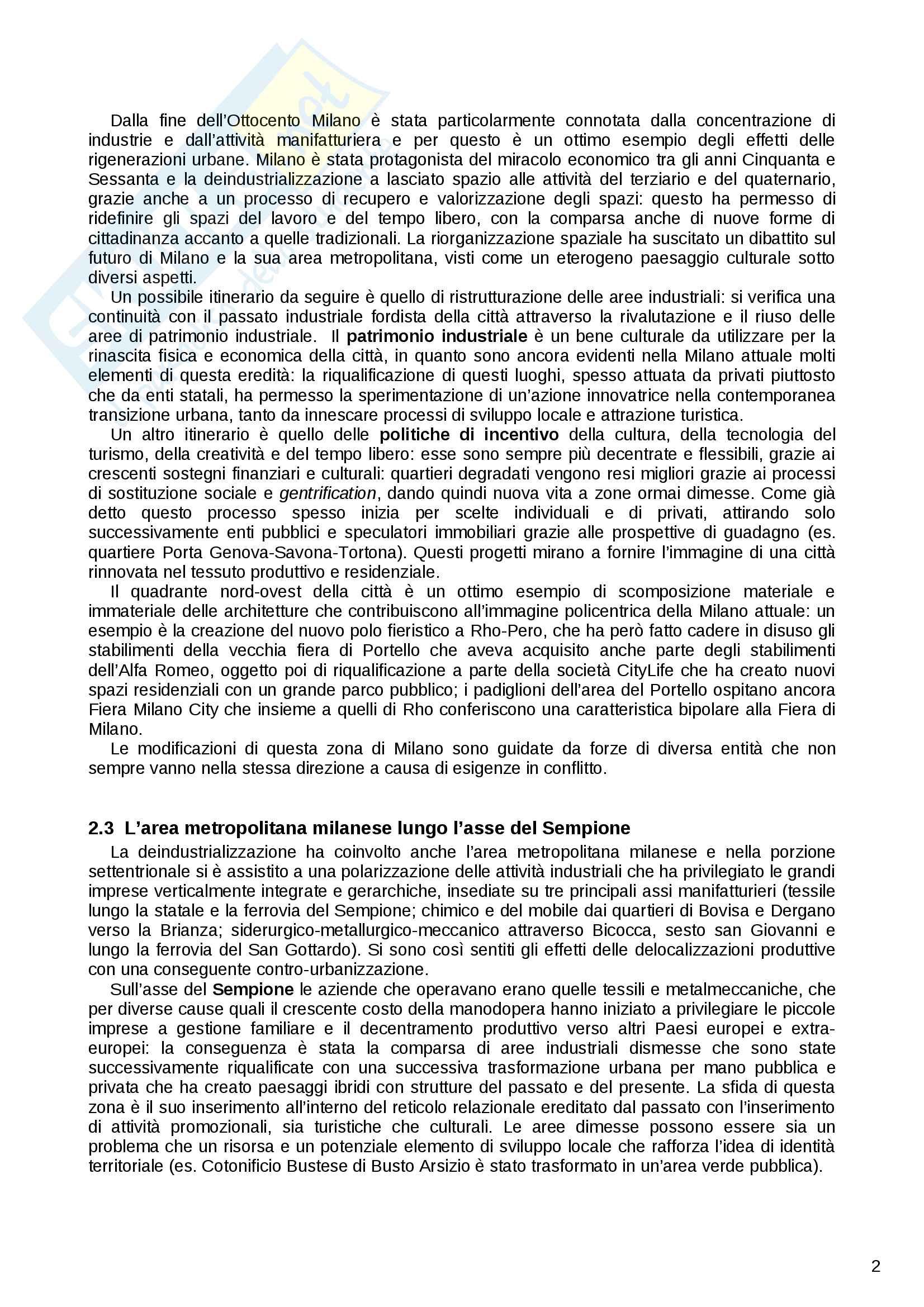 Riassunto esame Geografia Urbana e Regionale, prof. Dino Gavinelli, libro consigliato La Lombardia occidentale laboratorio di scomposizione e ricomposizione territoriale Pag. 2
