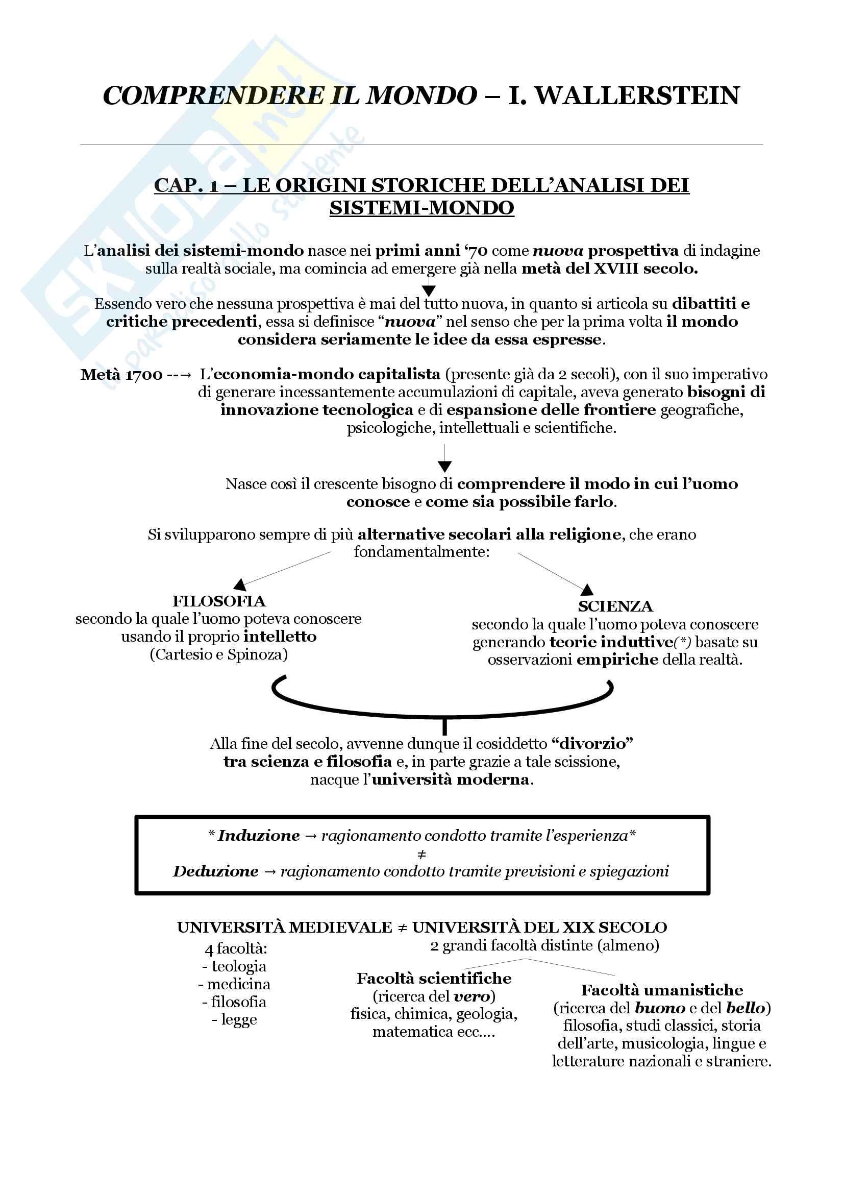 Riassunto esame di sociologia, prof. Di Meglio, libro consigliato Comprendere il mondo, Wallerstein