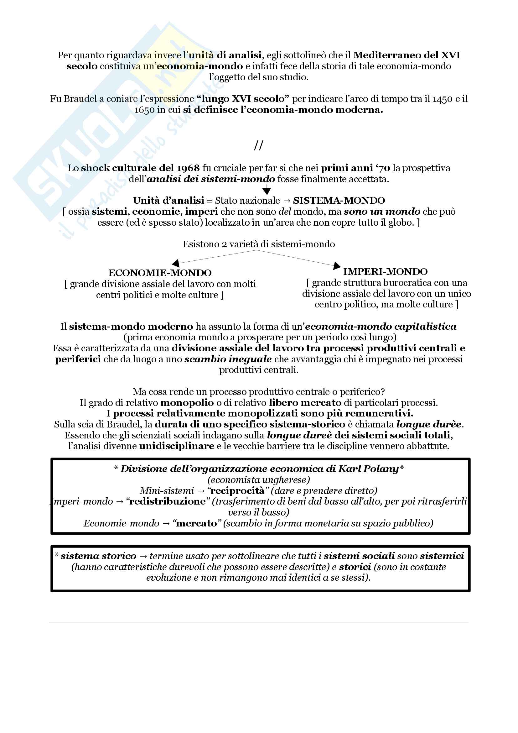 Riassunto esame di sociologia, prof. Di Meglio, libro consigliato Comprendere il mondo, Wallerstein Pag. 6