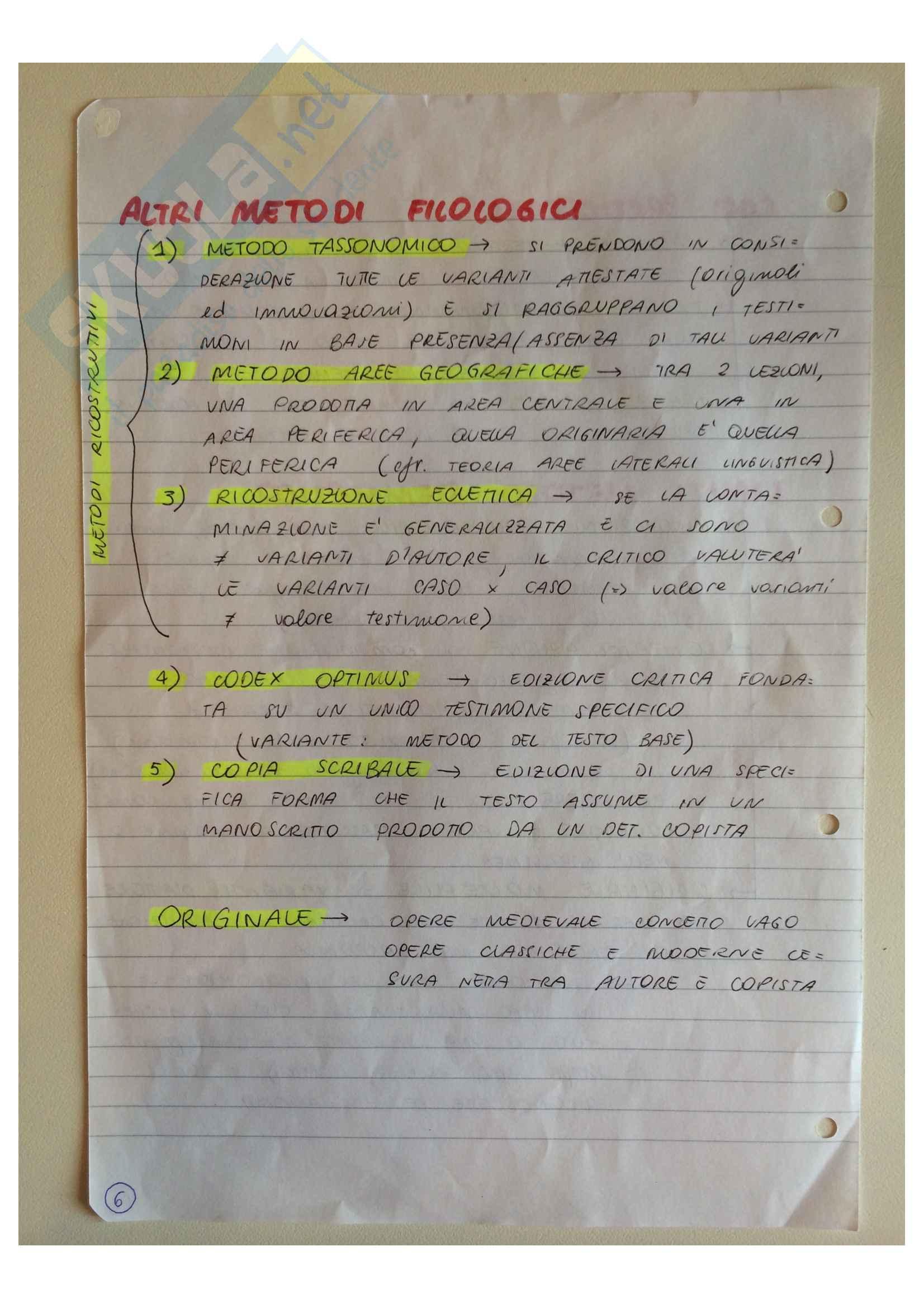 Riassunto esame Filologia italiana, prof. Bottari, libro consigliato Elementi di critica testuale, Chiesa Pag. 6