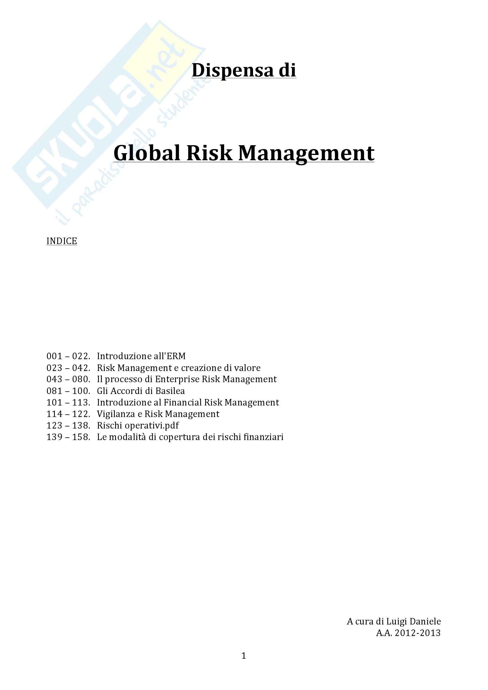 Global Risk Managemet - Appunti