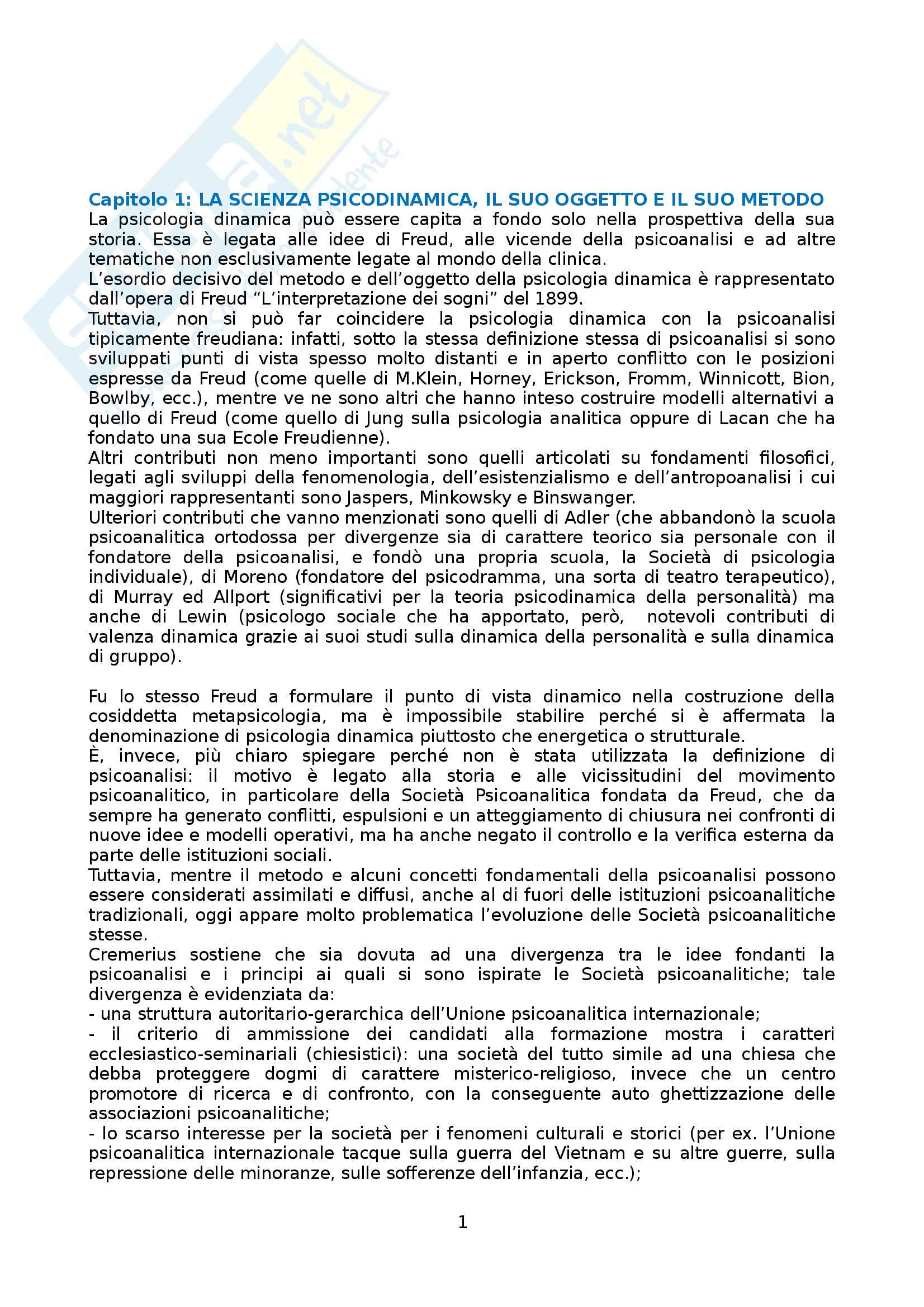 Riassunto esame Psicologia dinamica, prof. Miano, libro consigliato La psicologia dinamica come scienza clinica, Ruvolo