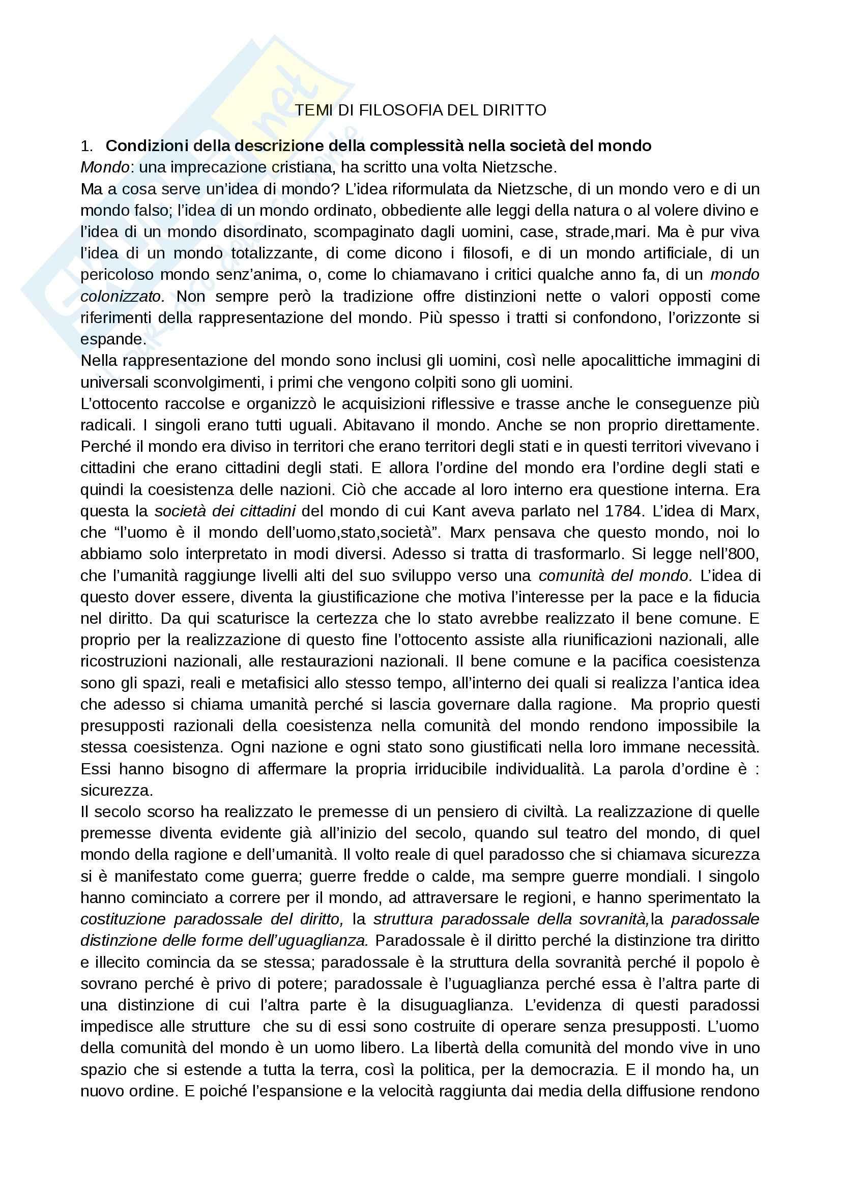 Riassunto esame Filosofia del diritto, prof. De Giorgi