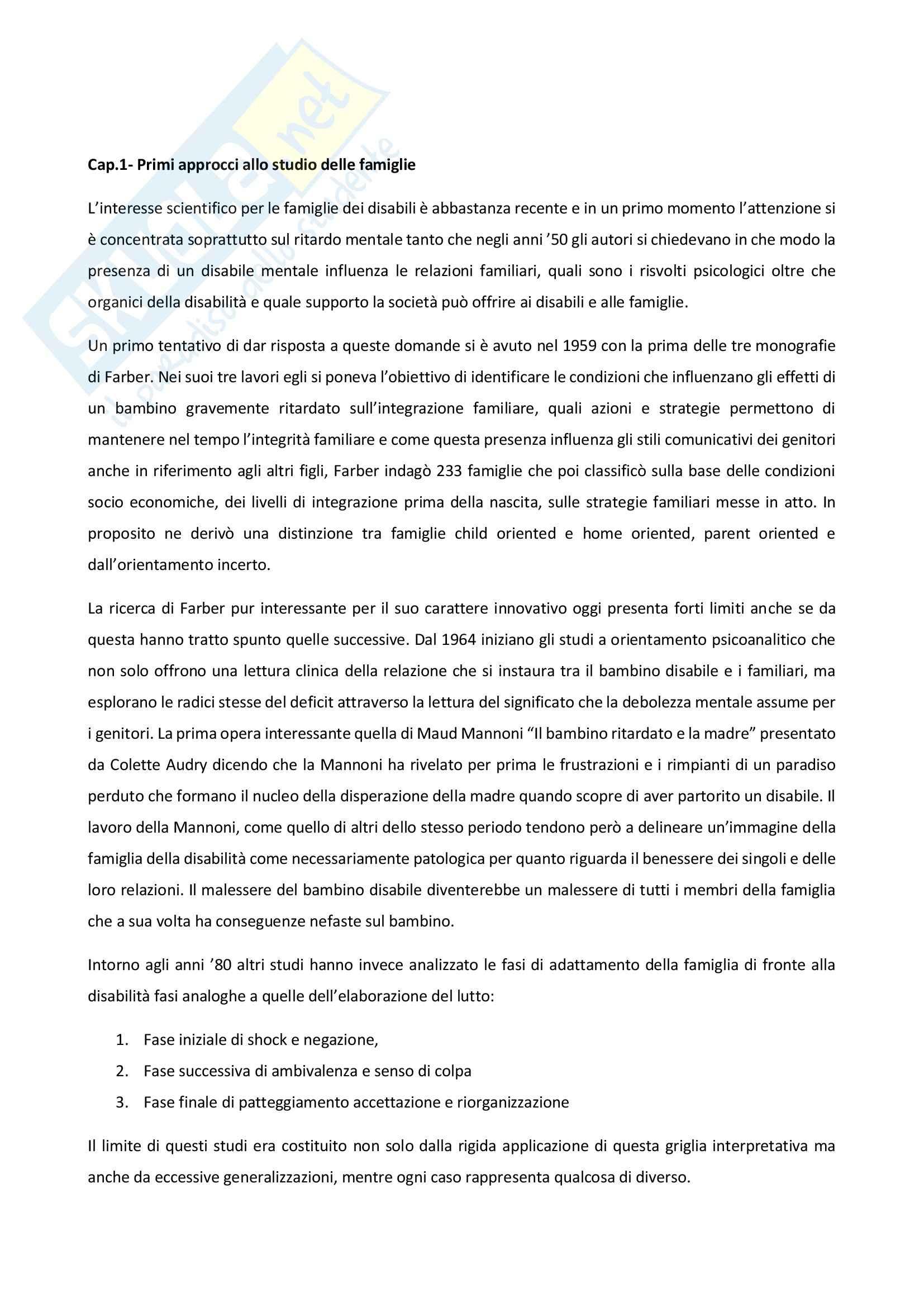 Riassunto esame Psicologia della disabilità, prof. Bigozzi, La famiglia di fronte alla disabilità, Zanobini