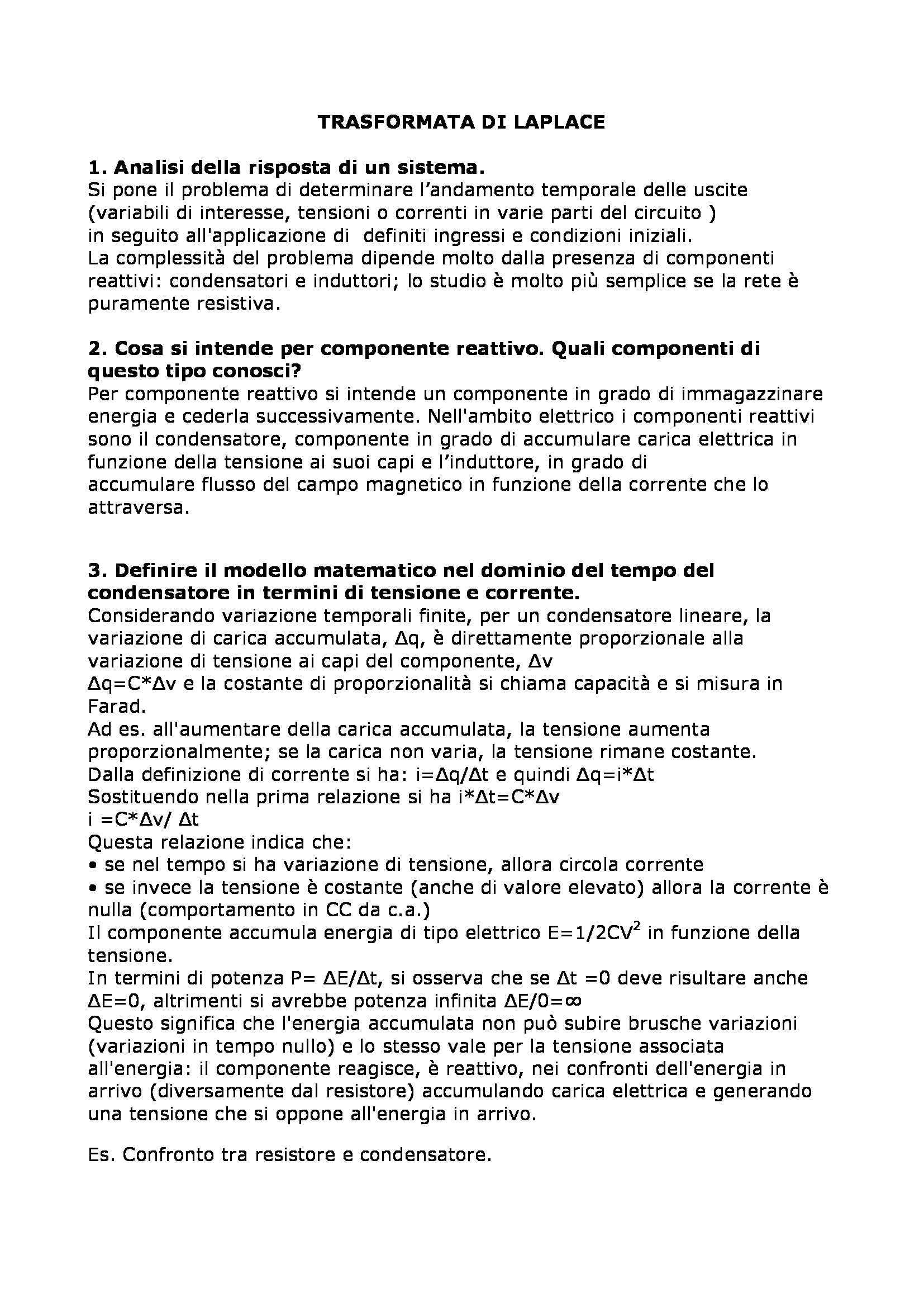 Sistemi elettronici programmabili - Trasformata di Laplace