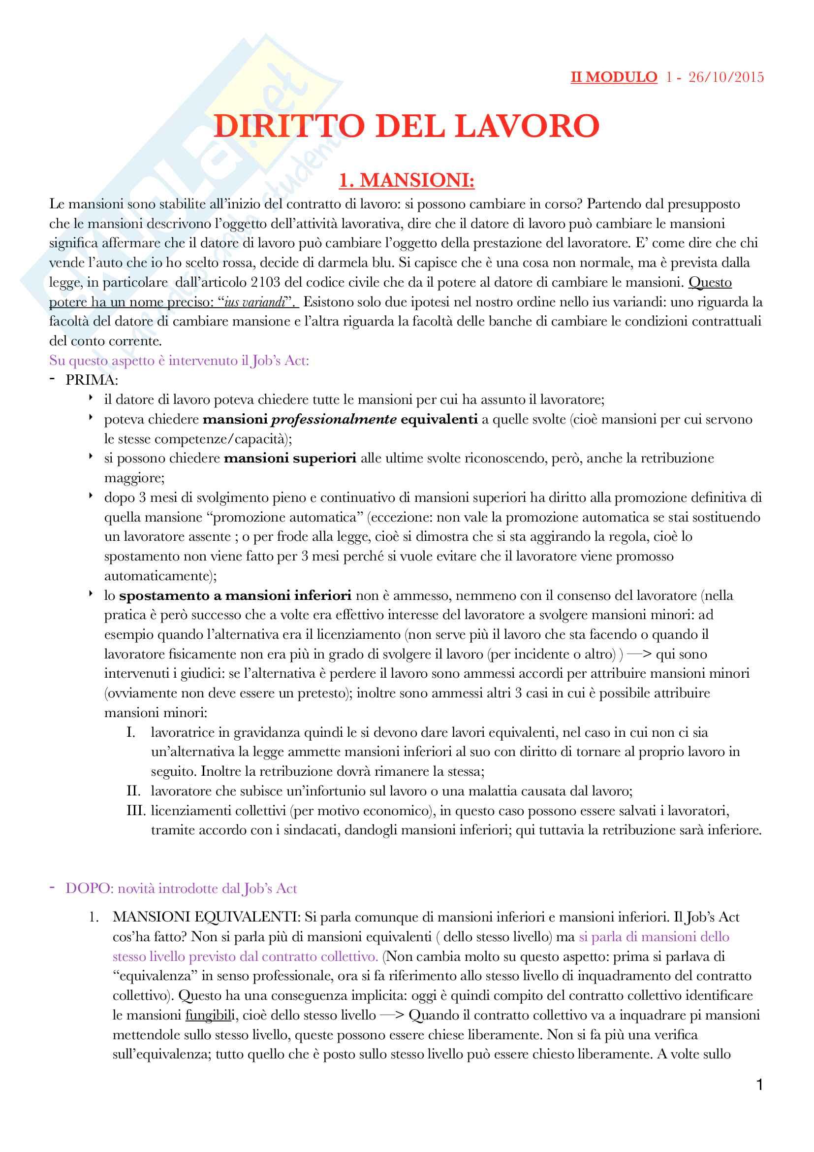 Diritto del lavoro - II Modulo Prof. Emanuele Menegatti. Appunti presi a lezione.