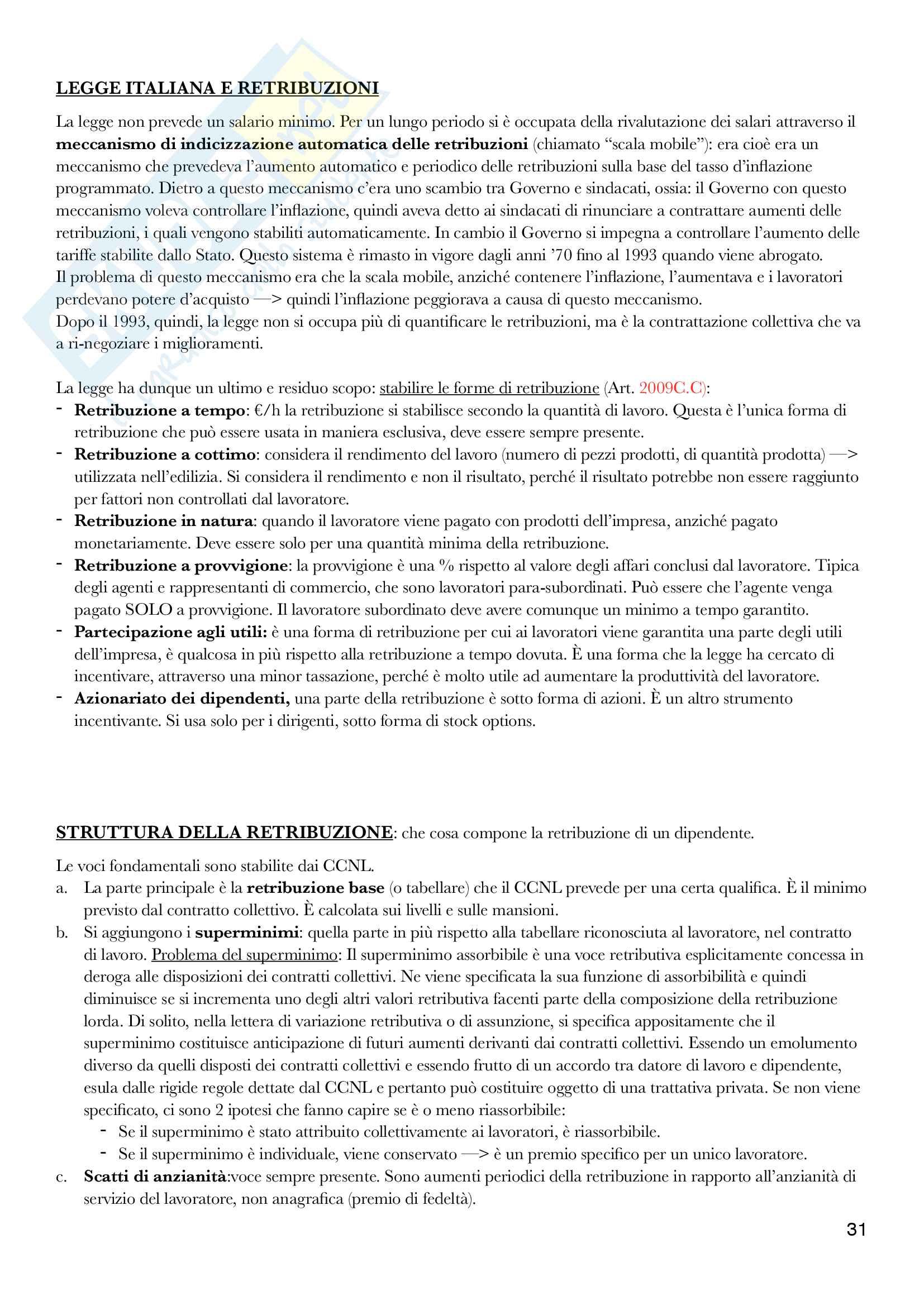 Diritto del lavoro - II Modulo Prof. Emanuele Menegatti. Appunti presi a lezione. Pag. 31