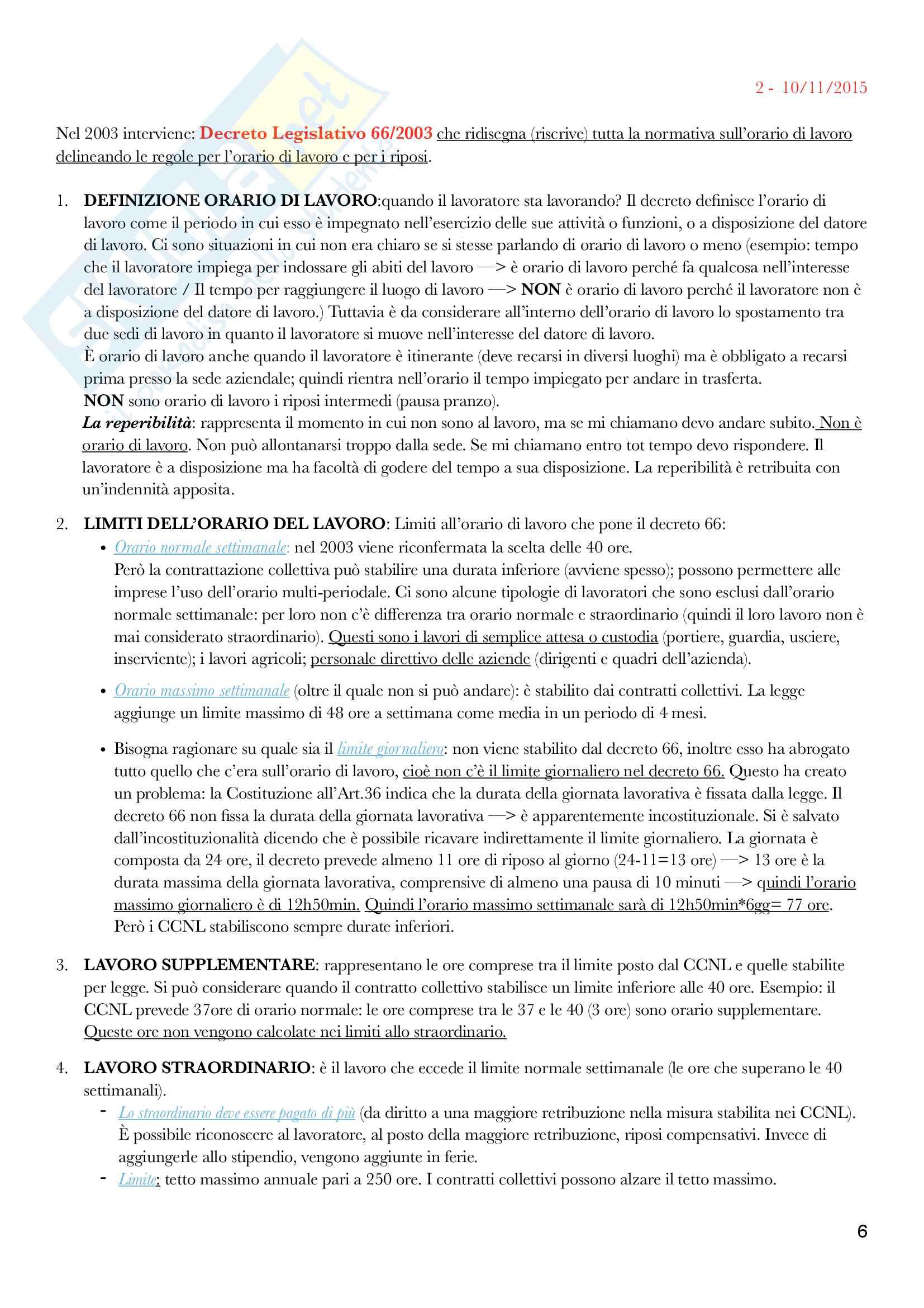 Diritto del lavoro - II Modulo Prof. Emanuele Menegatti. Appunti presi a lezione. Pag. 6