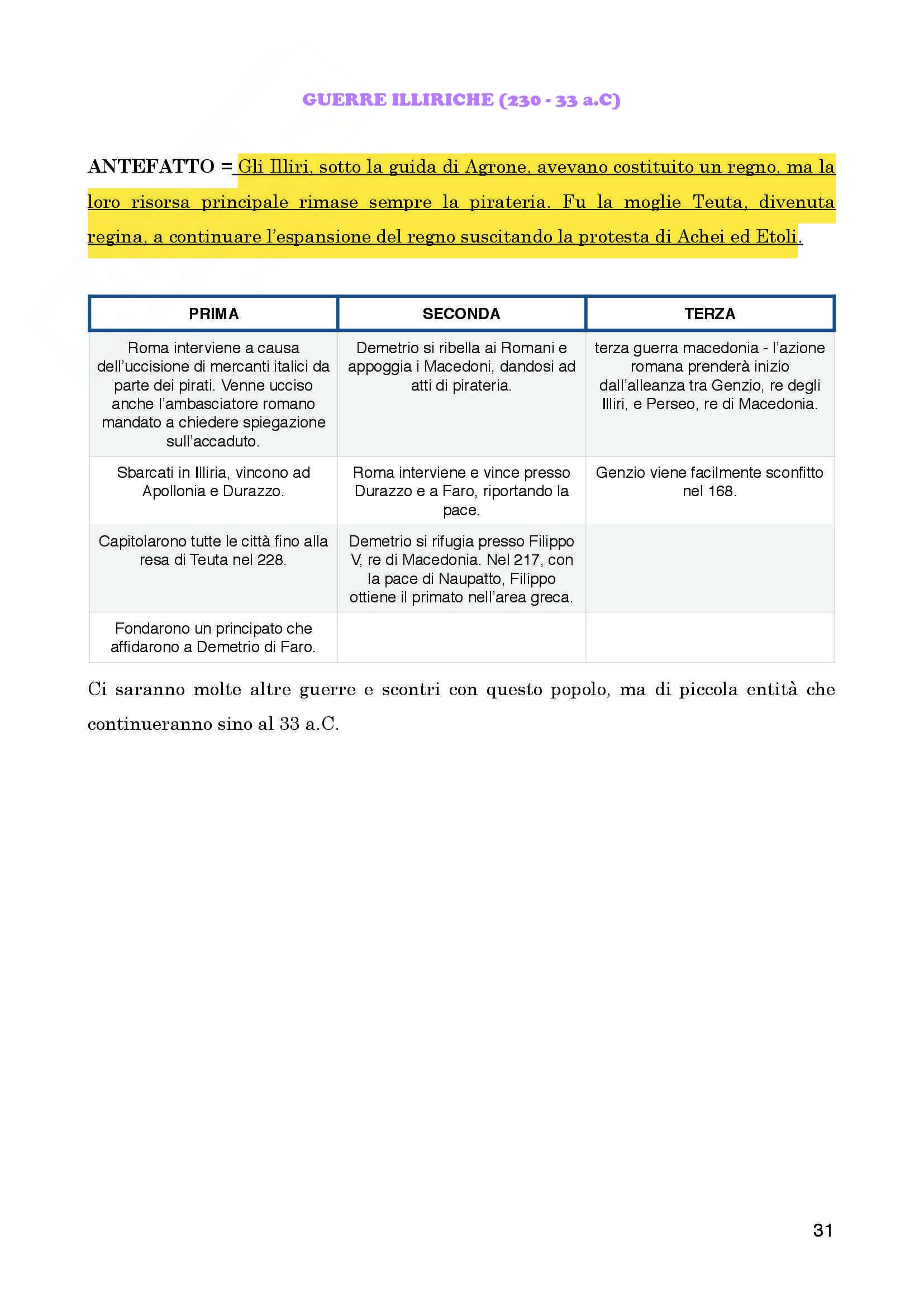 """Riassunto esame personale, prof. Bandelli, libro consigliato  """"Manuale di Storia Romana"""" Pani -  Todisco Pag. 31"""