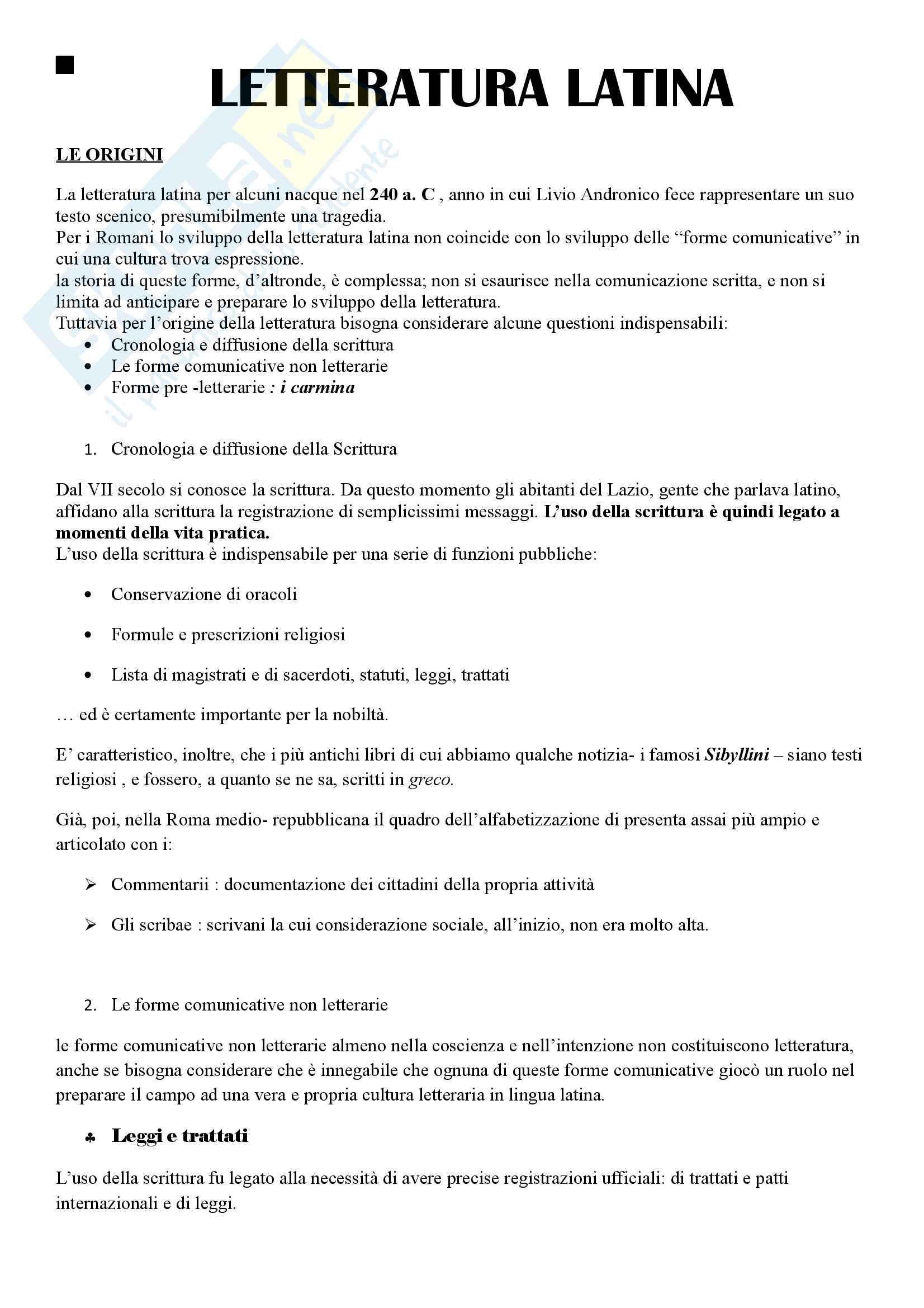Letteratura latina Dalle origini all'età augustea