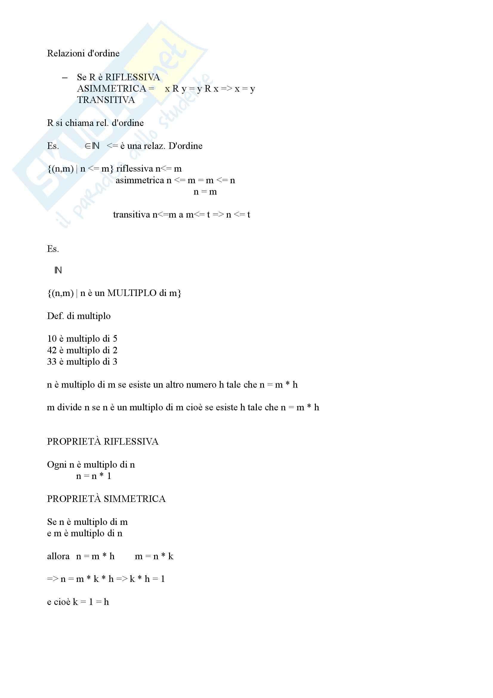 Algebra e geometria - relazione d'ordine