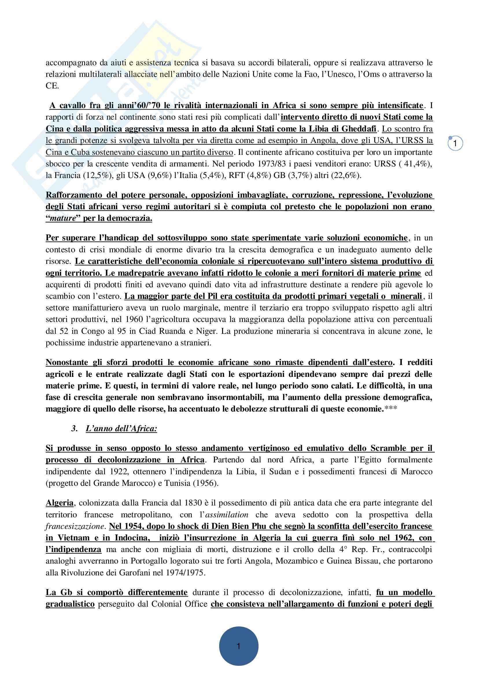Riassunto esame Storia dei paesi afro-asiatici, prof. Dirar, libro consigliato Africa: la storia ritrovata, Calchi Novati Pag. 21