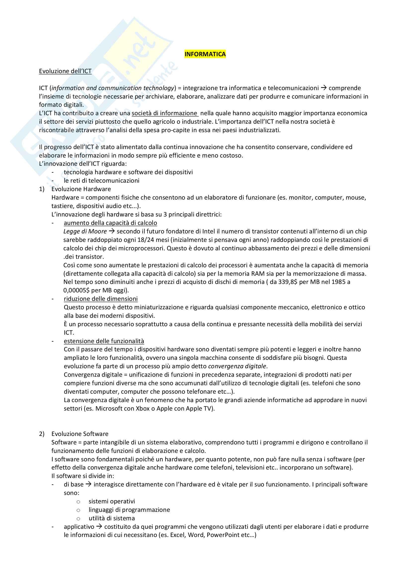 Corso Informatica Bocconi - Appunti Completi