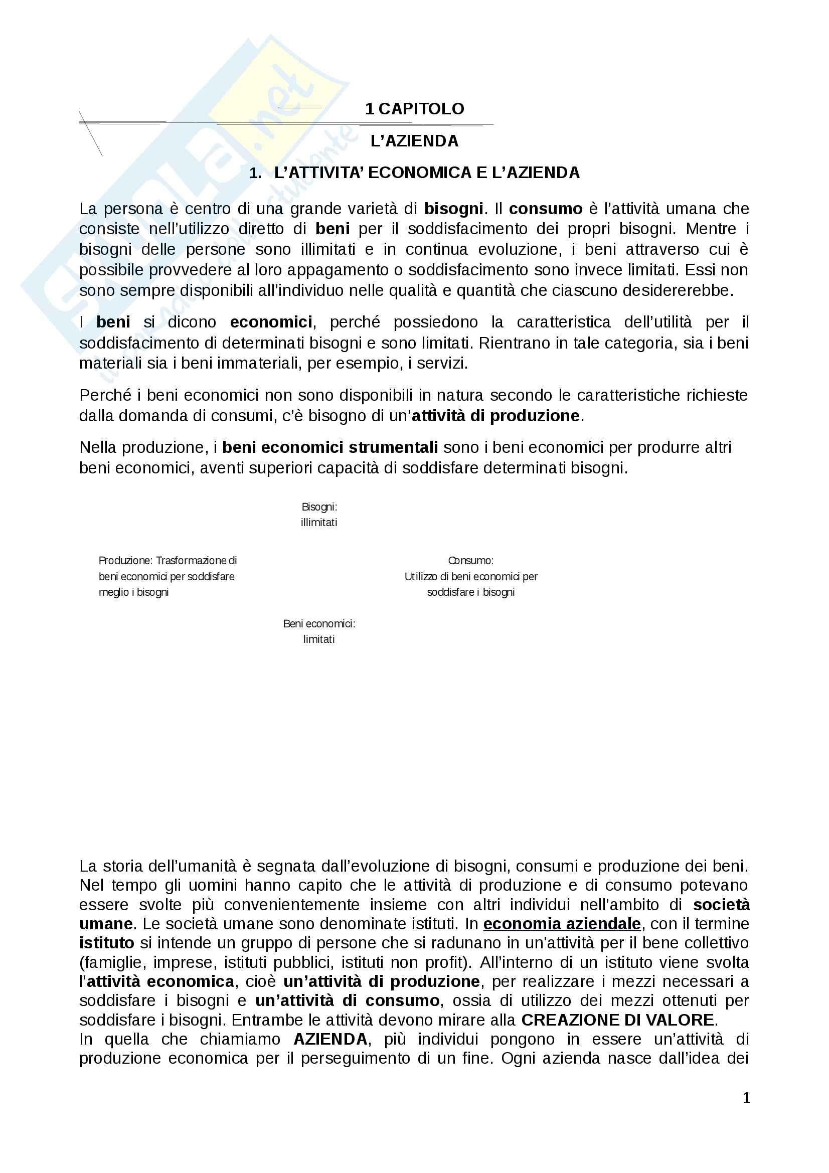 Riassunto esame Economia Aziendale, prof. D'Amore, libro consigliato Economia Aziendale, Ferrara
