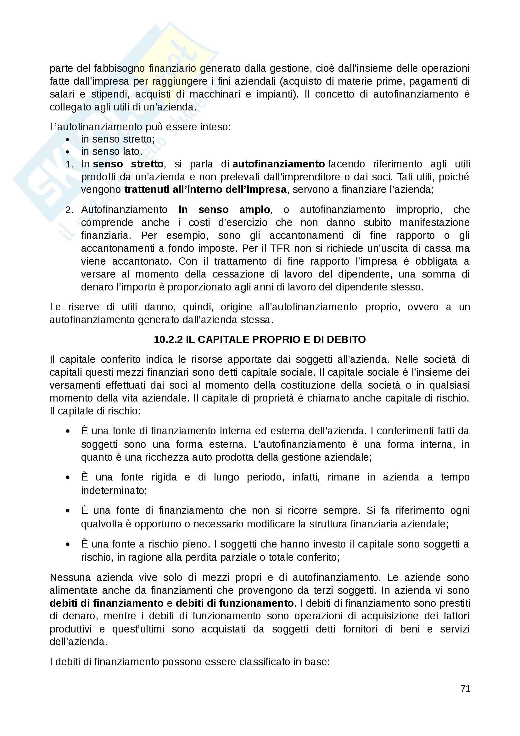 Riassunto esame Economia Aziendale, prof. D'Amore, libro consigliato Economia Aziendale, Ferrara Pag. 71