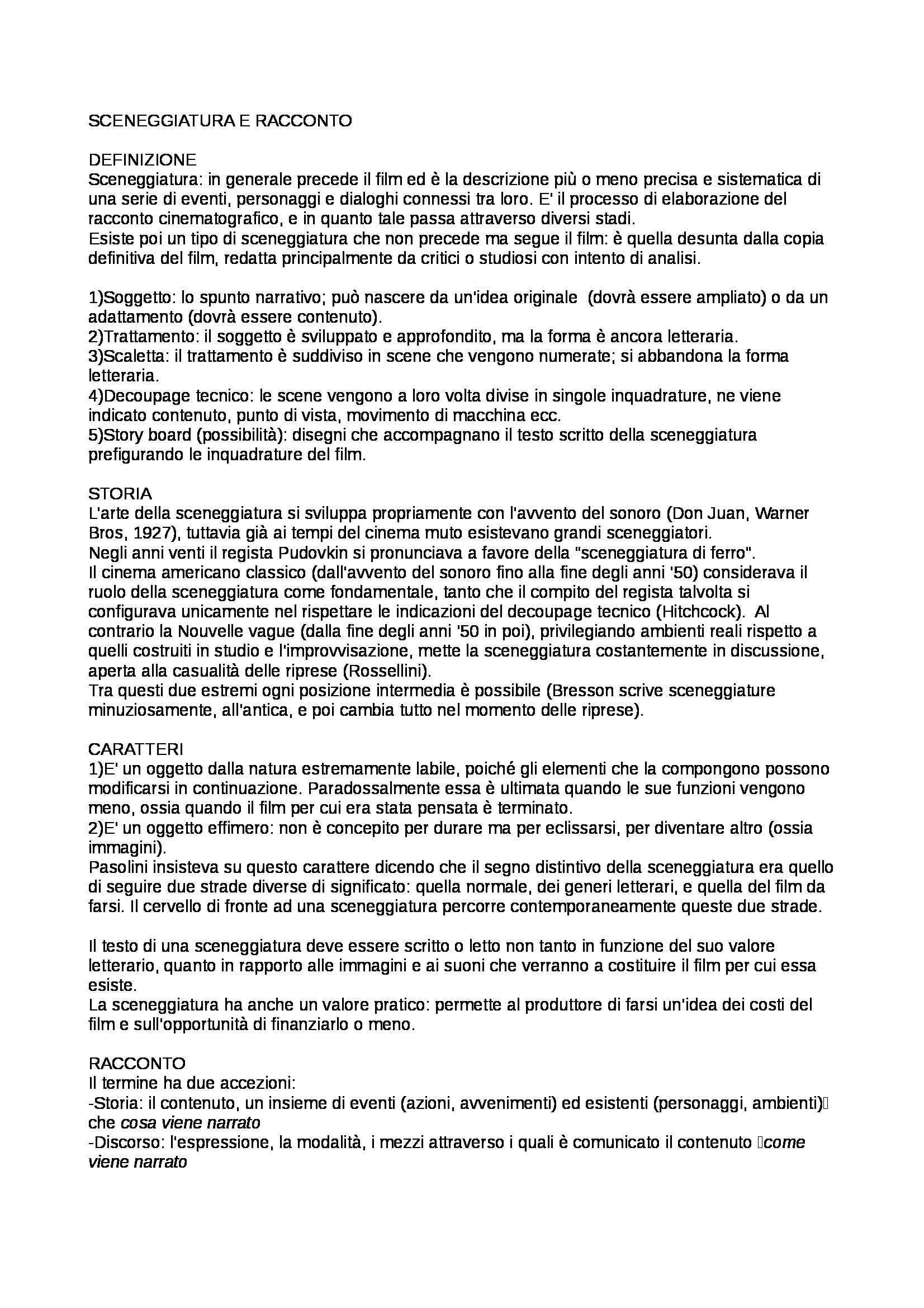 Riassunto esame Analisi del Film, prof. Guerrini, libro consigliato Manuale del Film, Rondolino, Tomasi