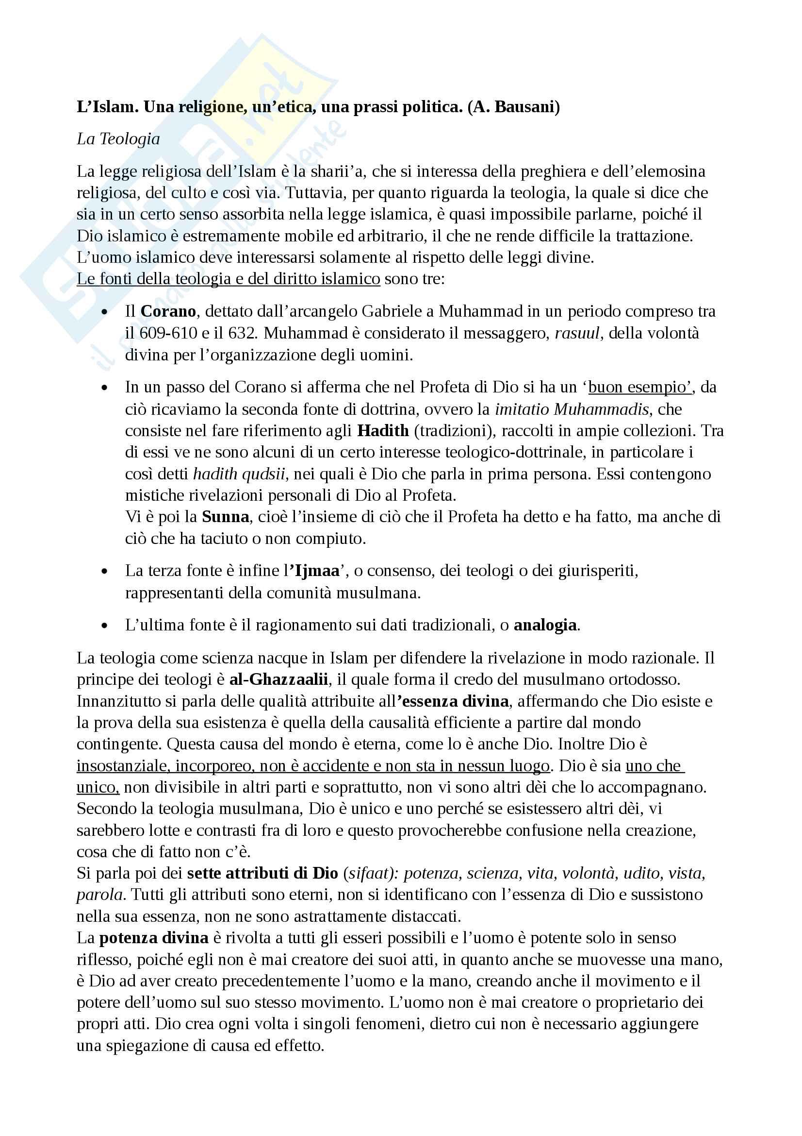 Riassunto esame Islamistica, prof Lagdaf, libro consigliato L'Islam. Una religione, un'etica, una prassi politica, Bausani