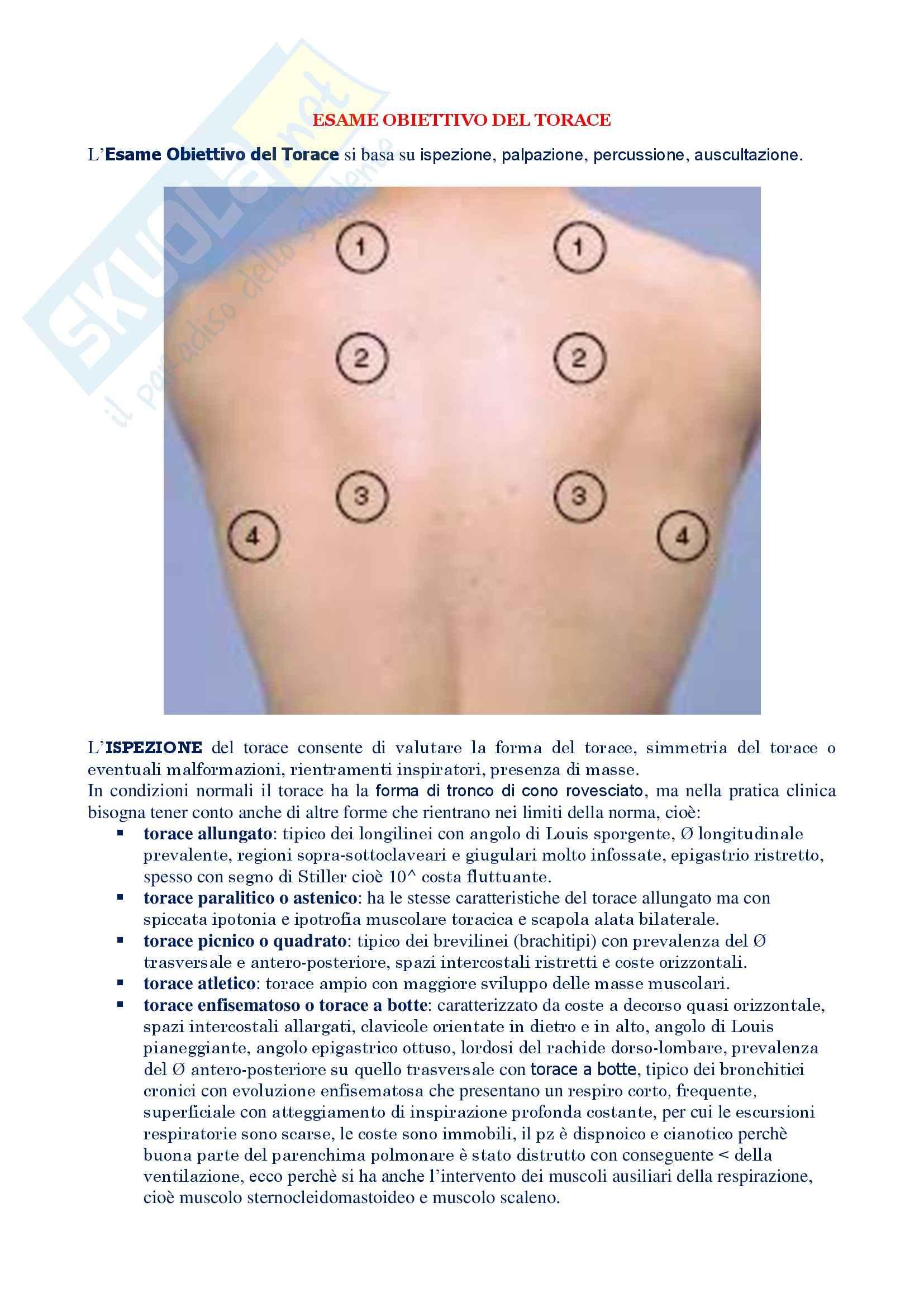 Malattie dell'apparato respiratorio - esame obiettivo torace