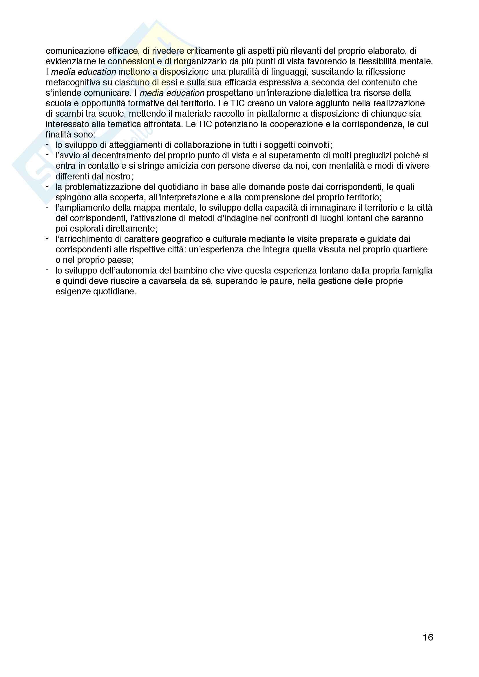 """Riassunto esame Storia dell'educazione, prof. Gianfranco Bandini, libro consigliato """"Al di là delle tecniche. La pratica educativa di Aldo Pettini"""", Maria Rosaria Di Santo Pag. 16"""