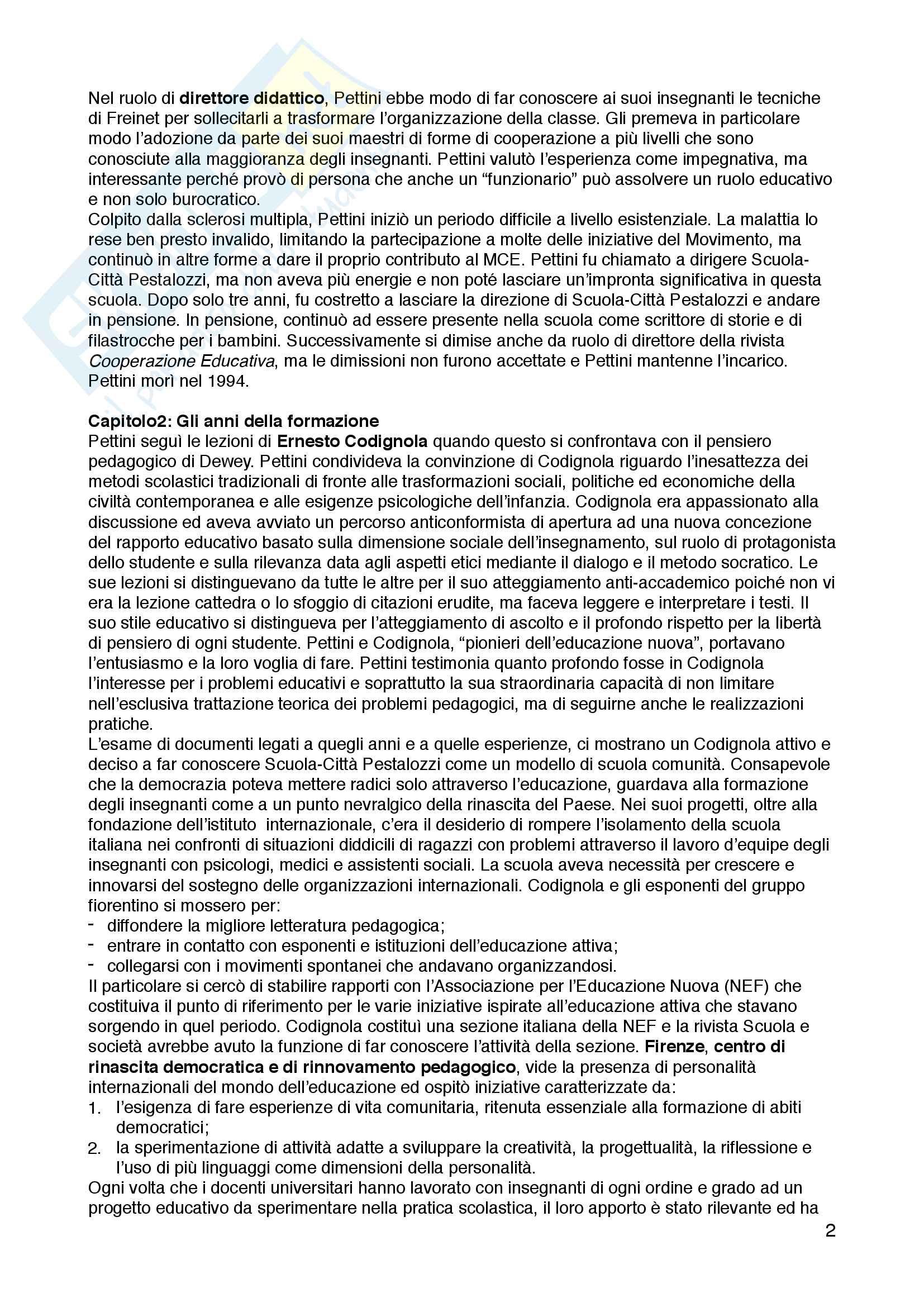 """Riassunto esame Storia dell'educazione, prof. Gianfranco Bandini, libro consigliato """"Al di là delle tecniche. La pratica educativa di Aldo Pettini"""", Maria Rosaria Di Santo Pag. 2"""