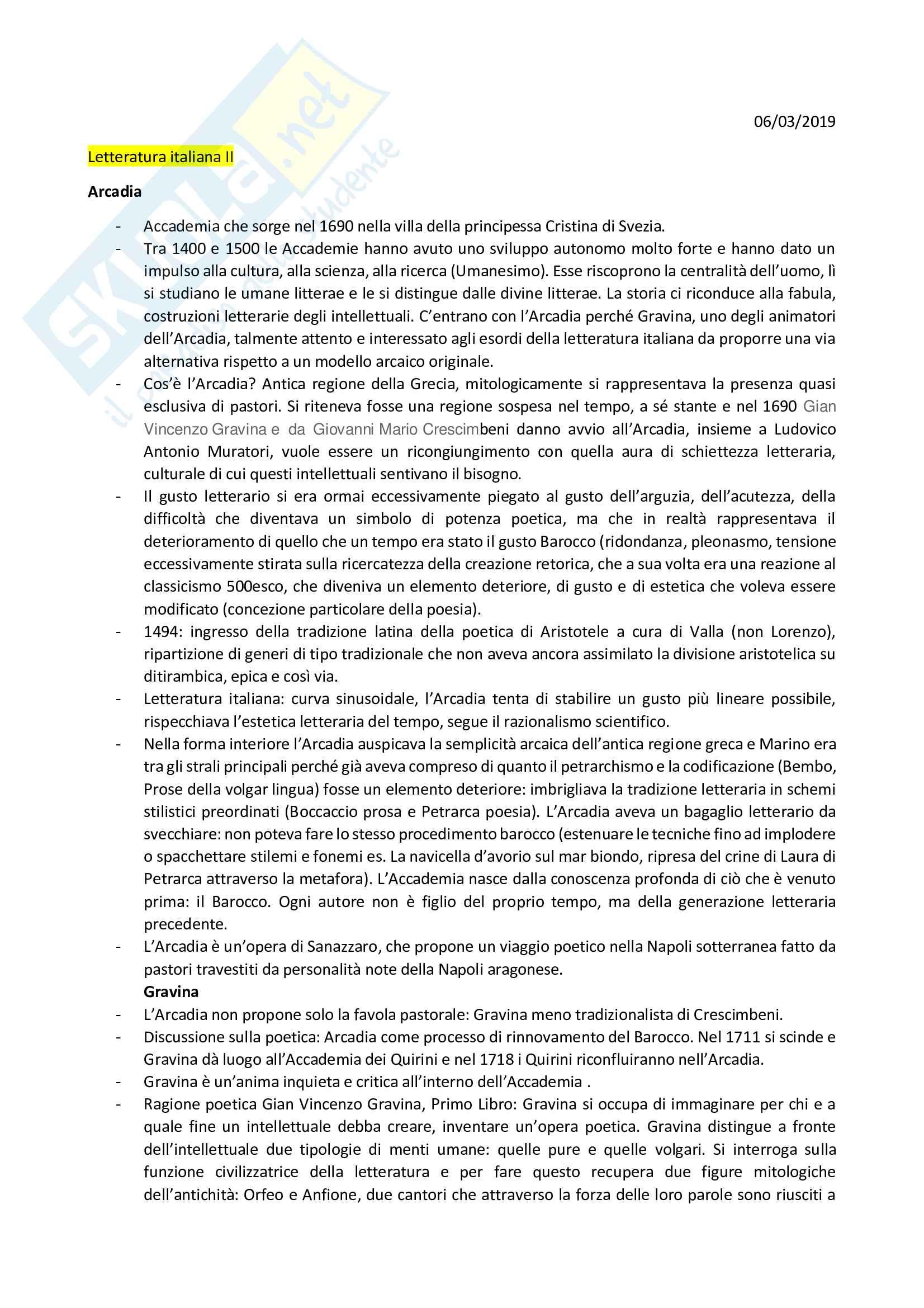 Letteratura Italiana II