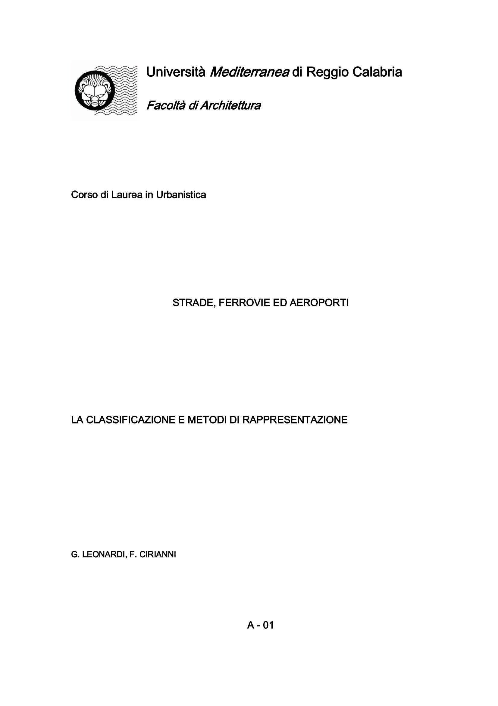 Rappresentazione - Classificazione e metodi