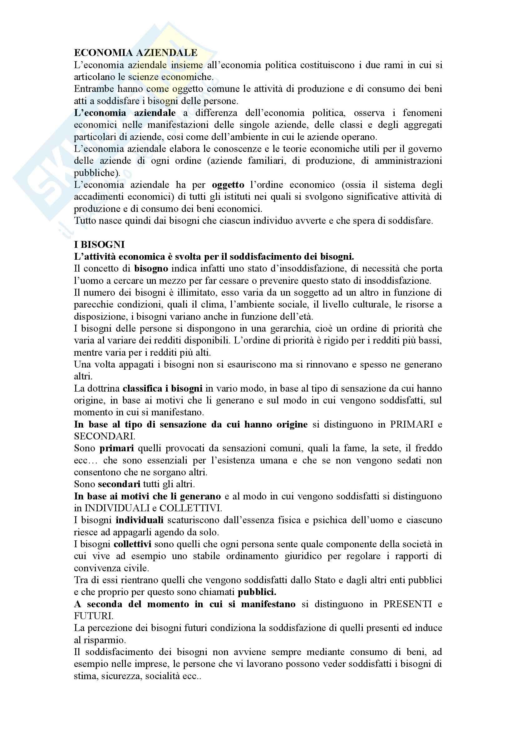 Economia aziendale, Airoldi,  Brunetti - Sintesi