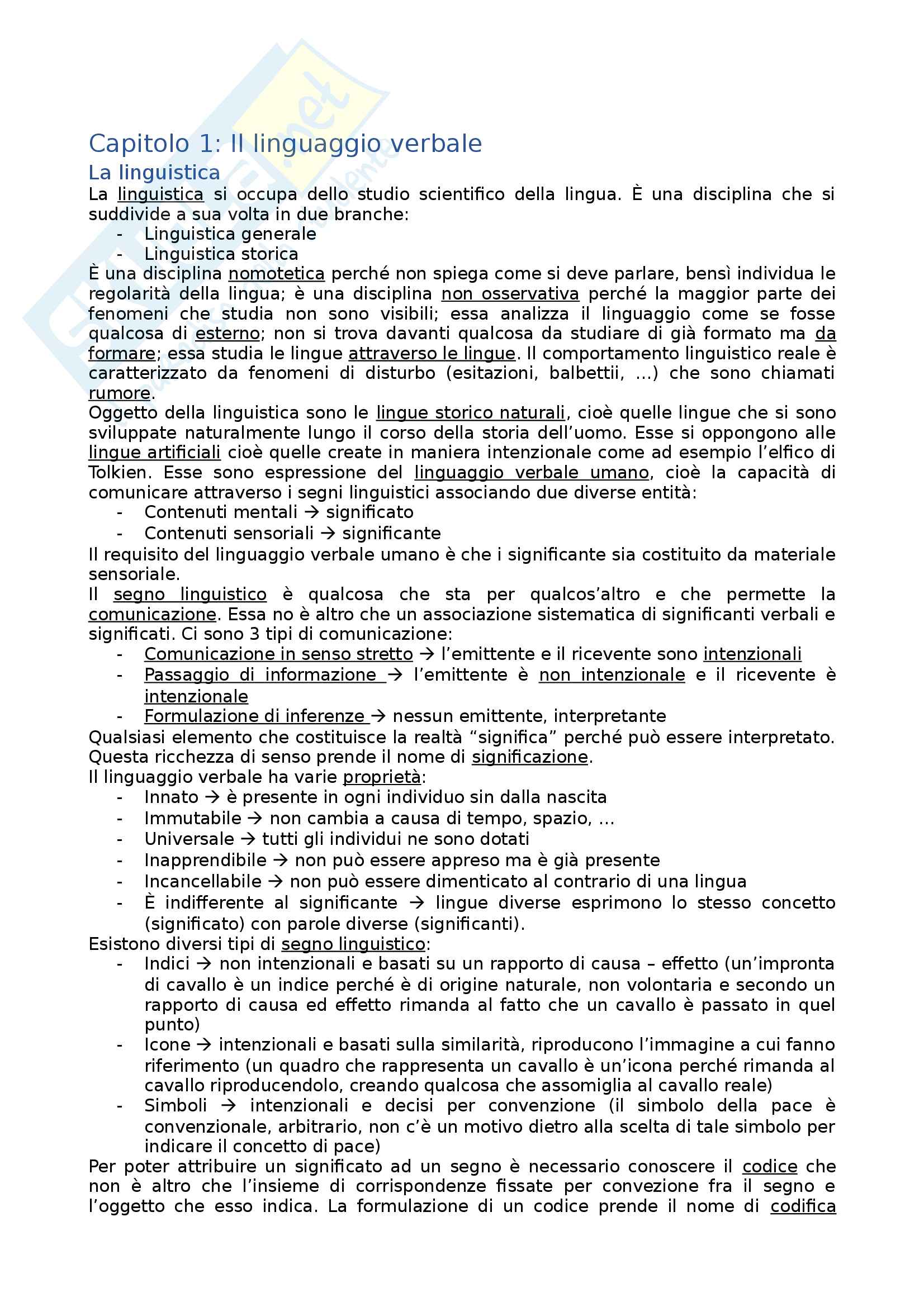 Riassunto esame Linguistica generale e applicata, prof. Gagliardi, libro consigliato La Linguistica, Berruto, Cerruti Pag. 1