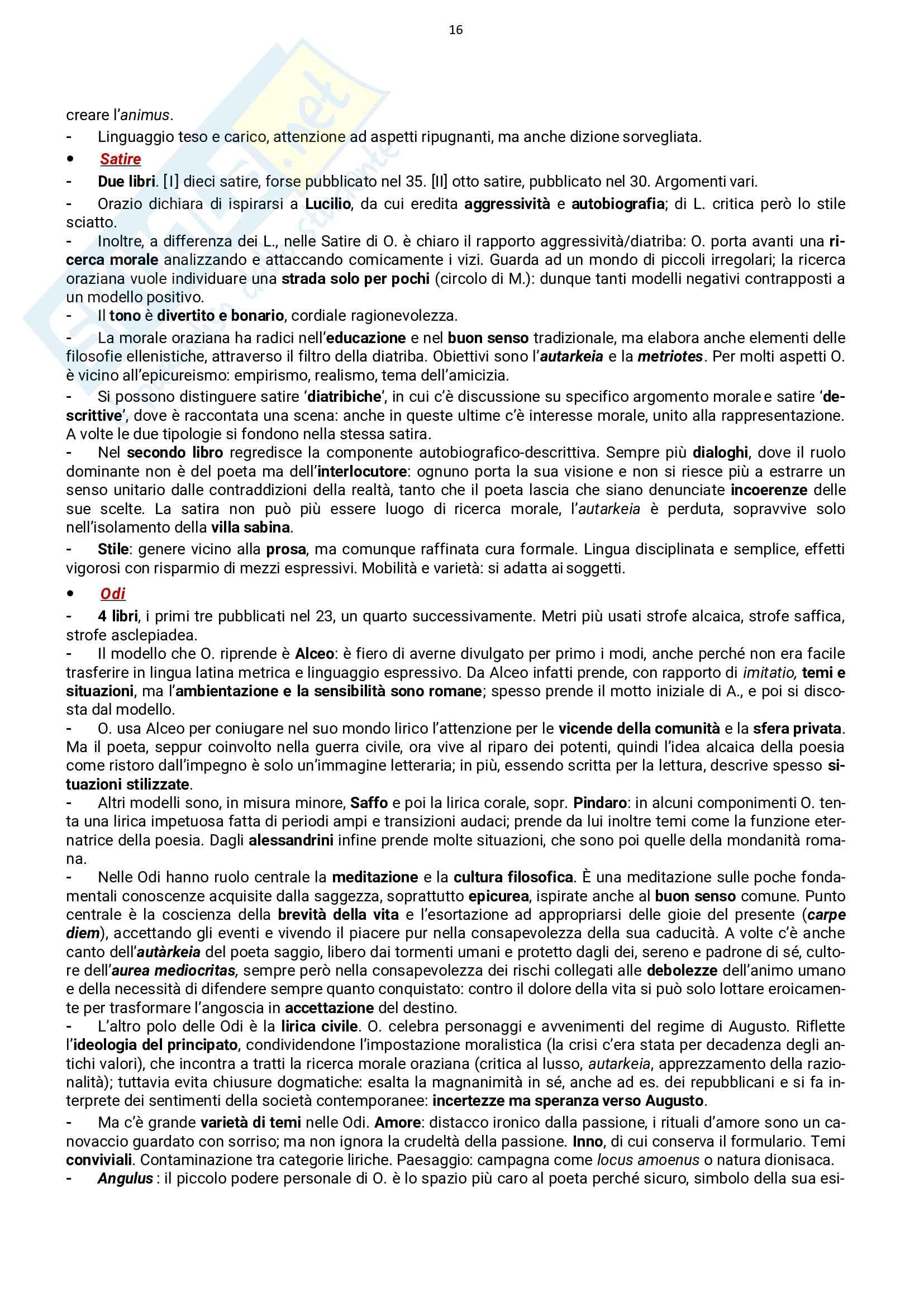 Autori latini: vita e opere, esame Letteratura Latina, prof. Stucchi, libro consigliato Conte Pag. 16