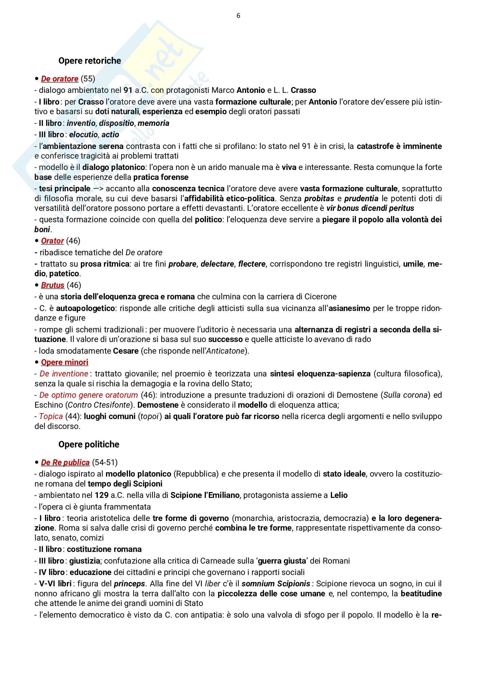 Autori latini: vita e opere, esame Letteratura Latina, prof. Stucchi, libro consigliato Conte Pag. 6