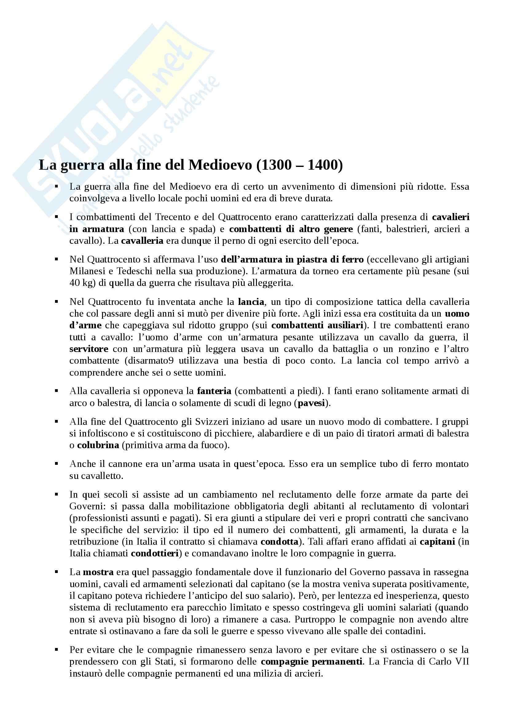 Riassunto esame Storia moderna, prof. Bitossi, libro consigliato La guerra in Europa dal Rinascimento a Napoleone, Barbero