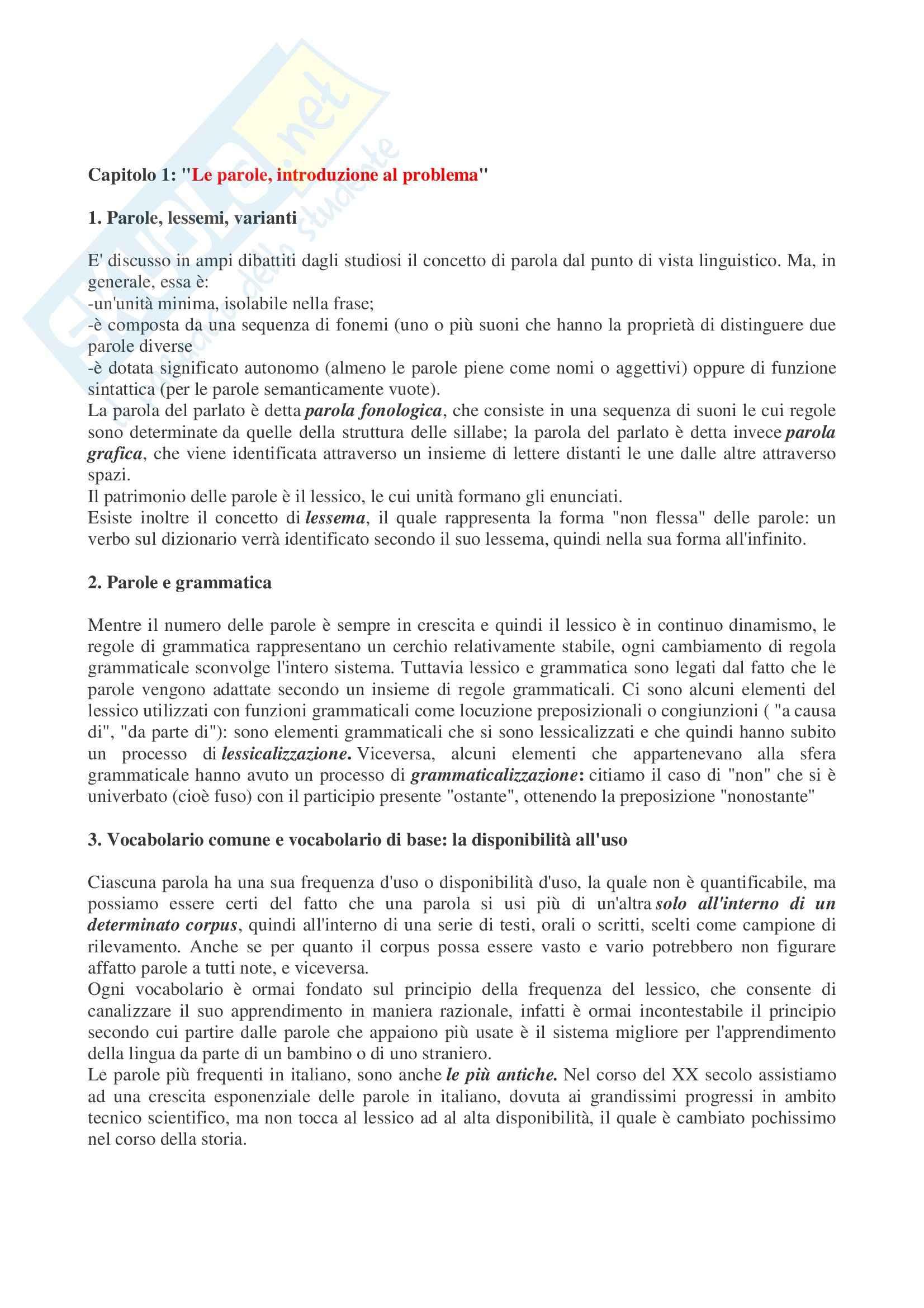 Riassunto esame Linguistica Italiana, prof. Porro, libro consigliato Dalle Parole ai Dizionari, Aprile