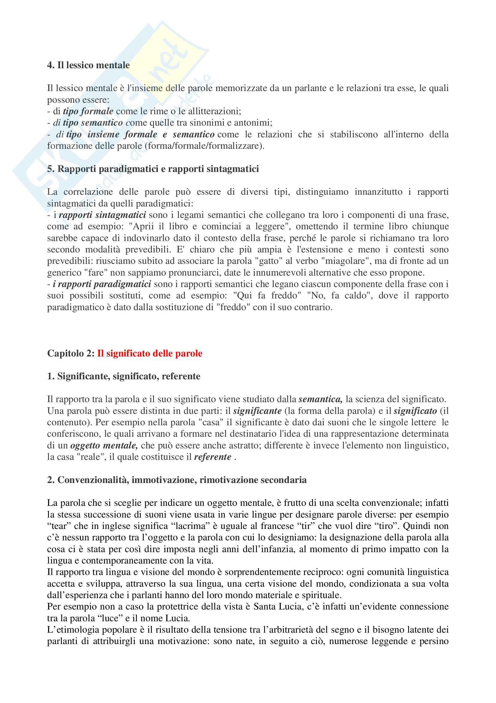 Riassunto esame Linguistica Italiana, prof. Porro, libro consigliato Dalle Parole ai Dizionari, Aprile Pag. 2