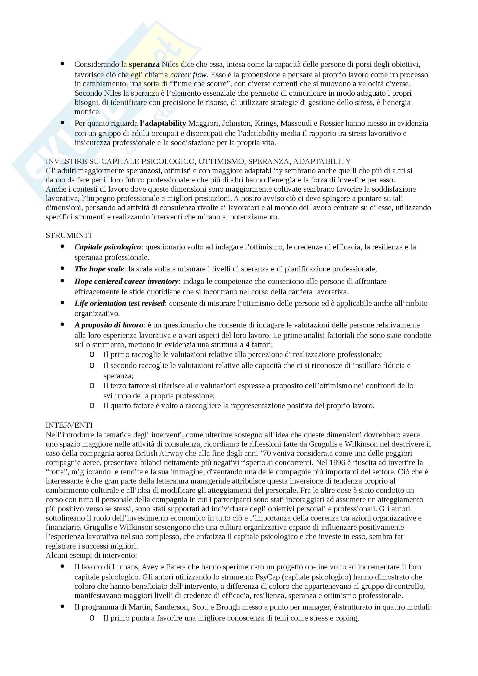 Sunto Psicologia dell'orientamento e della progettazione professionale, docente Nota, libro consigliato La psicologia positiva dell'orienteamento e il lavoro, Nota, Soresi Pag. 2