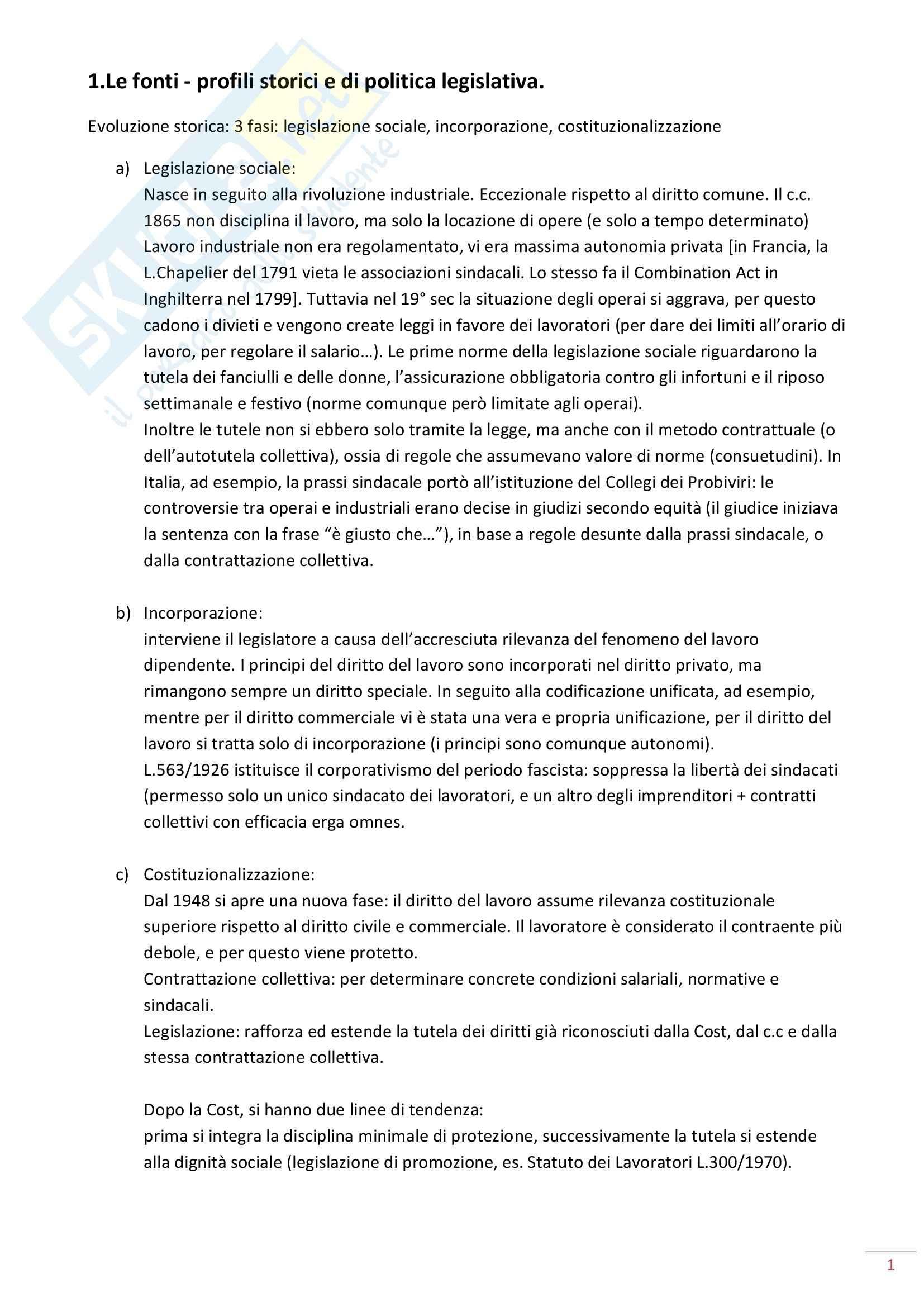 Riassunto esame Diritto del Lavoro, prof. Maresca, libro consigliato Diritto del Lavoro, Ghera