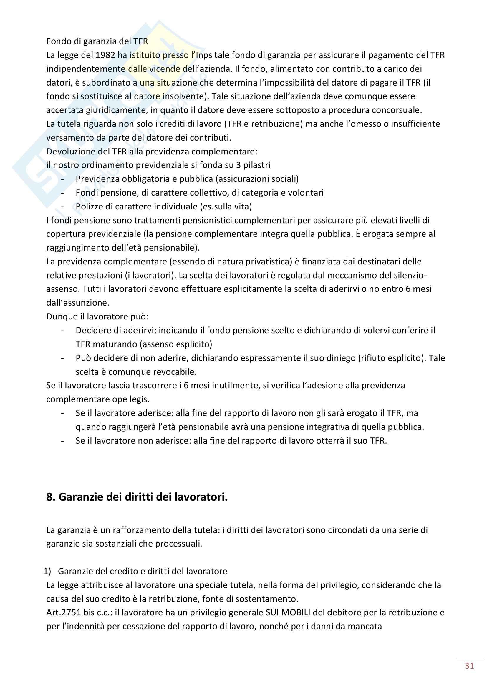 Riassunto esame Diritto del Lavoro, prof. Maresca, libro consigliato Diritto del Lavoro, Ghera Pag. 31