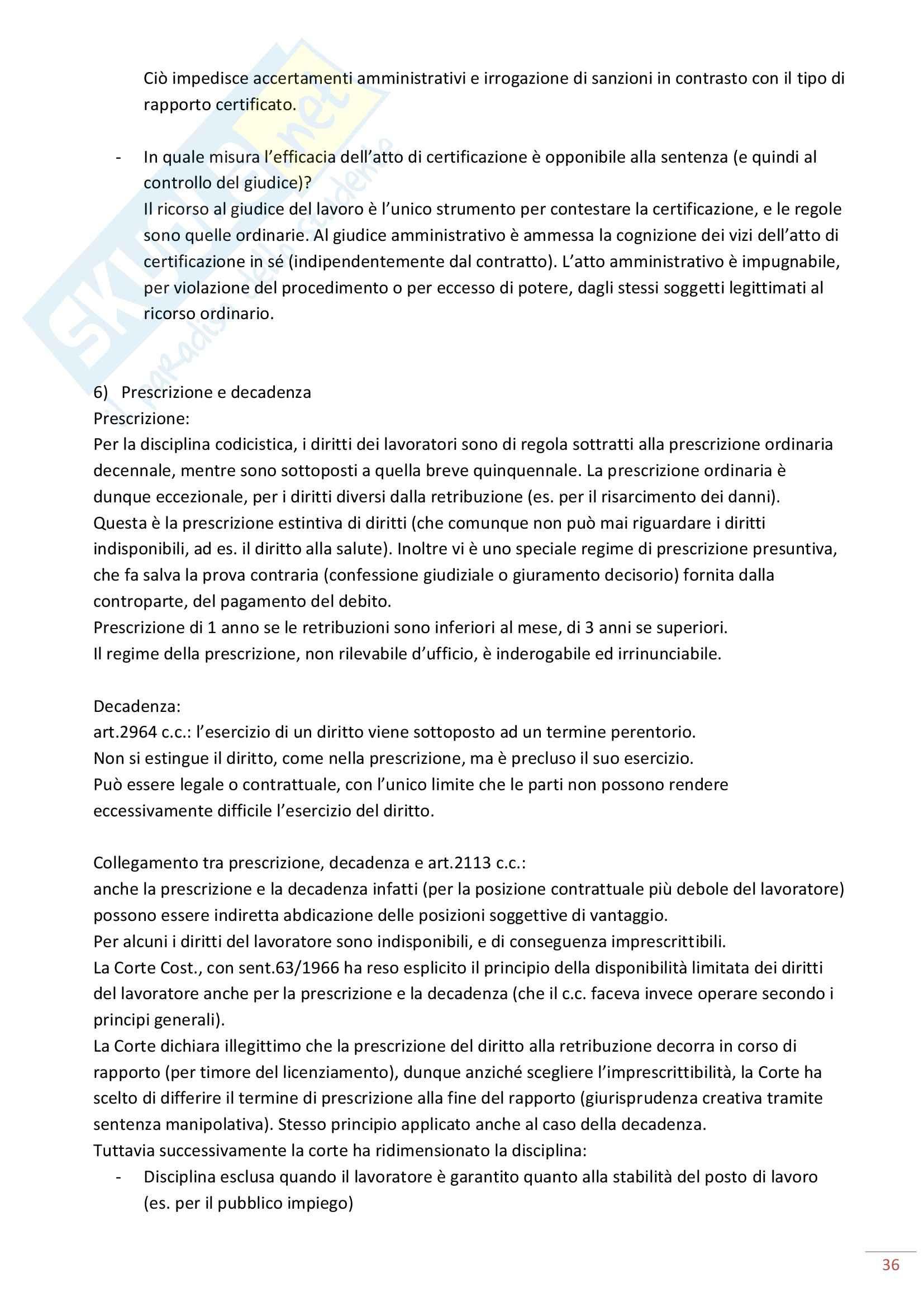 Riassunto esame Diritto del Lavoro, prof. Maresca, libro consigliato Diritto del Lavoro, Ghera Pag. 36