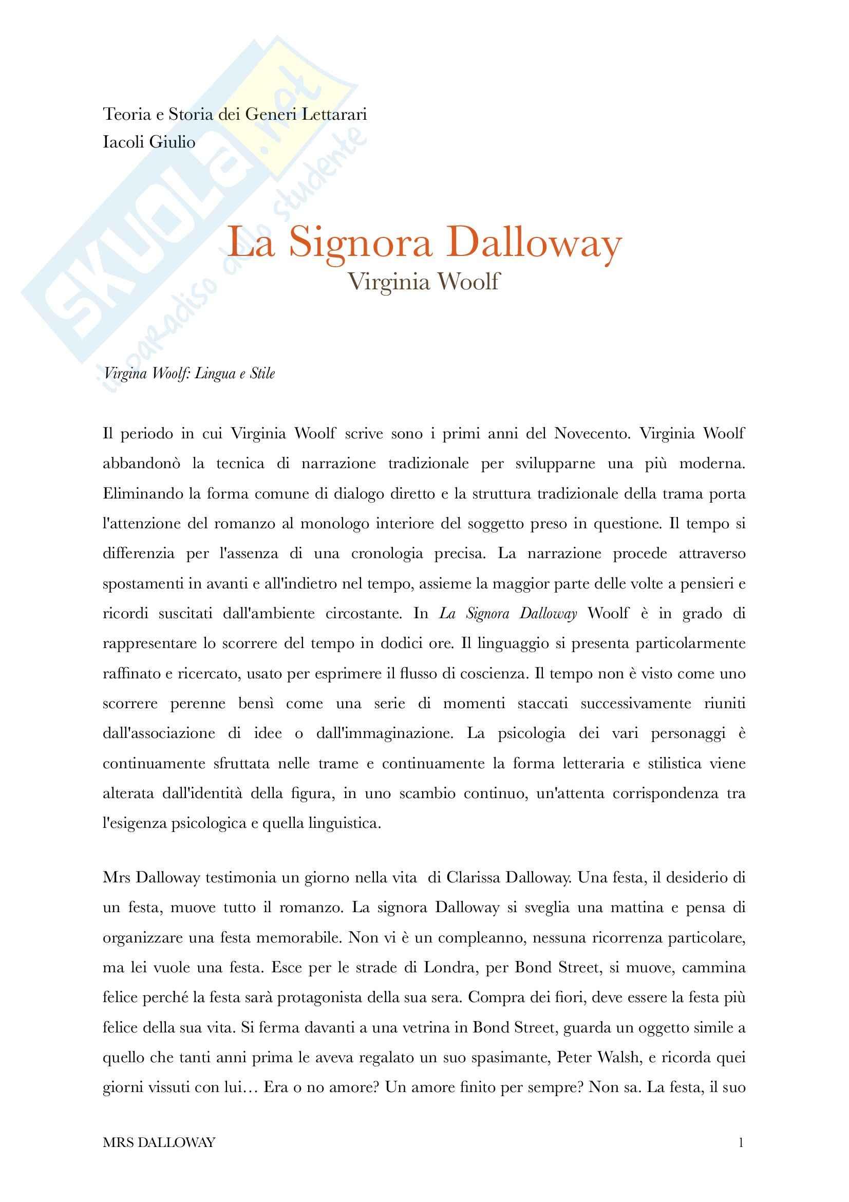 Riassunto esame Teoria e storia dei generi letterari, prof. Iacoli, libro consigliato Mrs Dalloway, Woolf