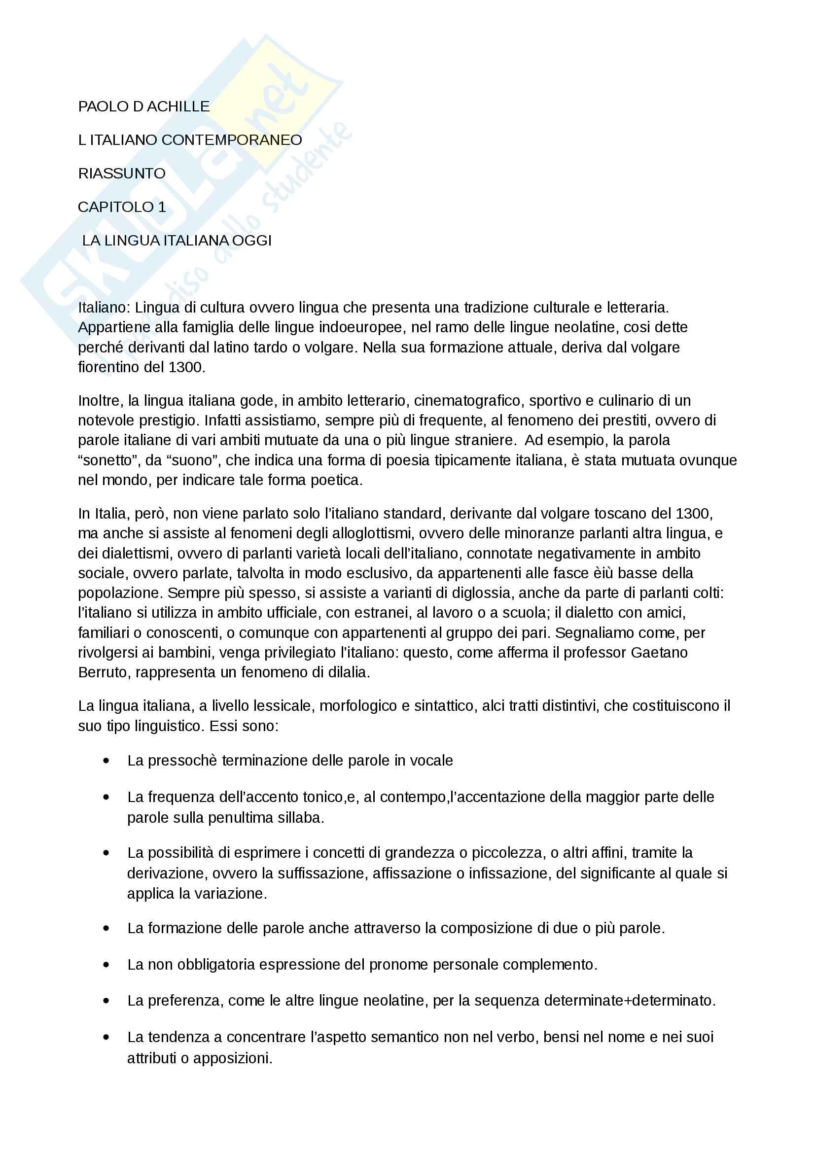Riassunto esame Linguistica Italiana, prof.Castiglione, libro consigliato, Paolo d'Achille, l'Italiano Contemporaneo