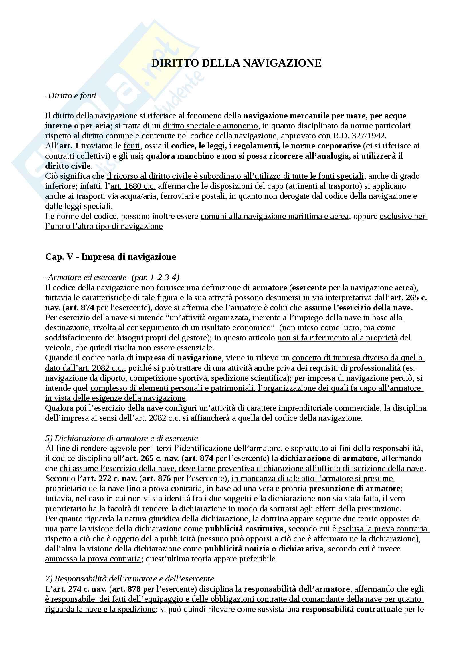 appunto S. Zunarelli Diritto della navigazione