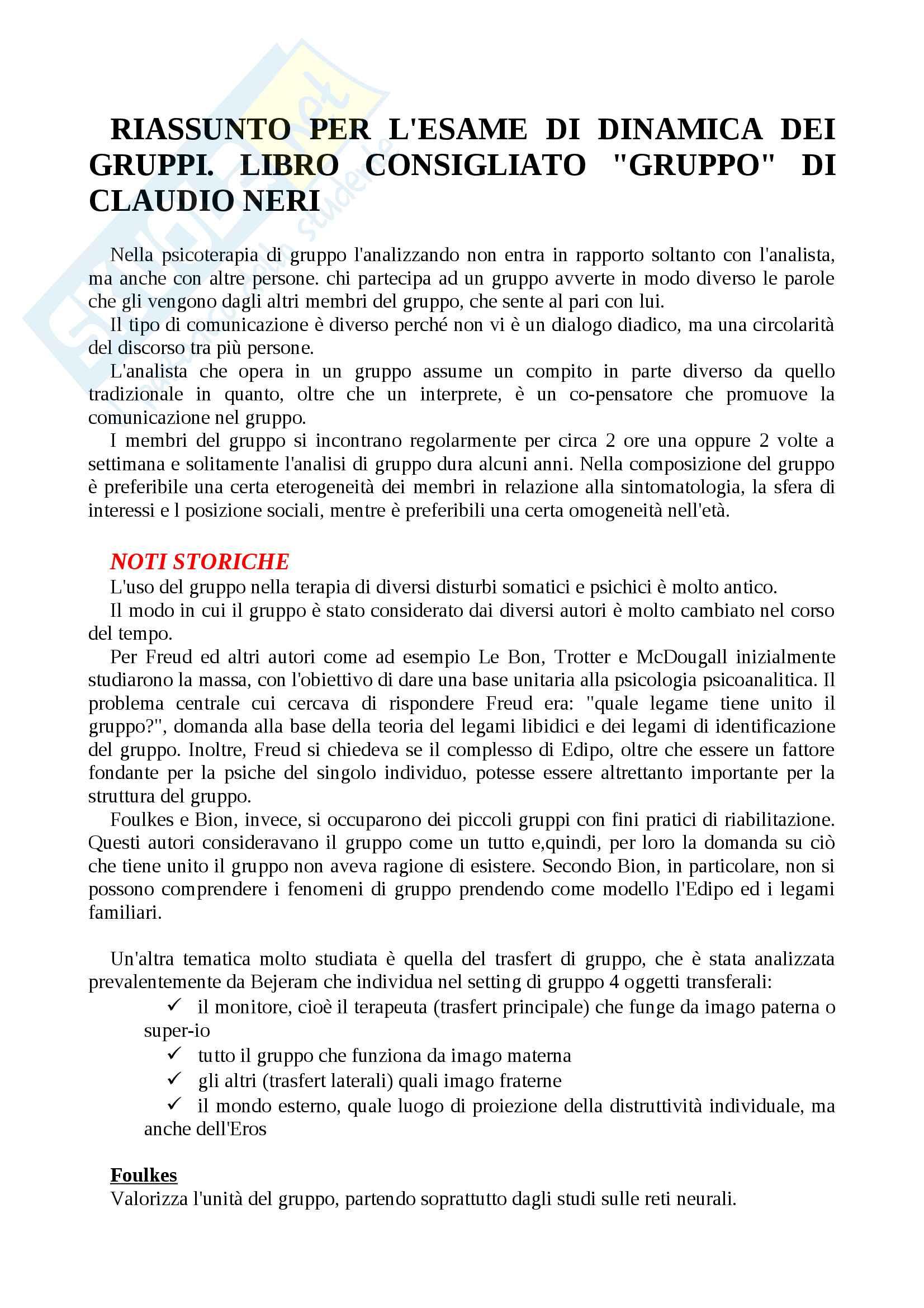 """Riassunto per l'esame di dinamica di gruppo, libro consigliato """"Gruppo"""" di Claudio Neri"""