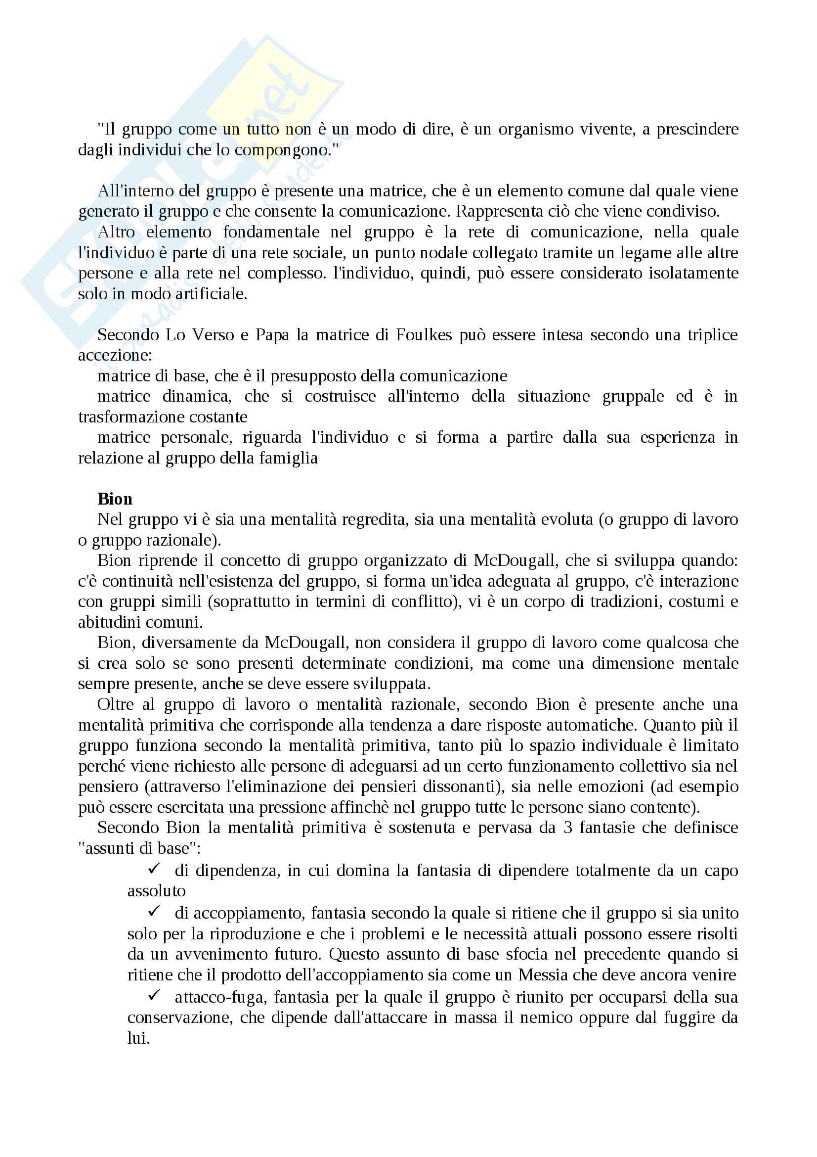 """Riassunto per l'esame di dinamica di gruppo, libro consigliato """"Gruppo"""" di Claudio Neri Pag. 2"""