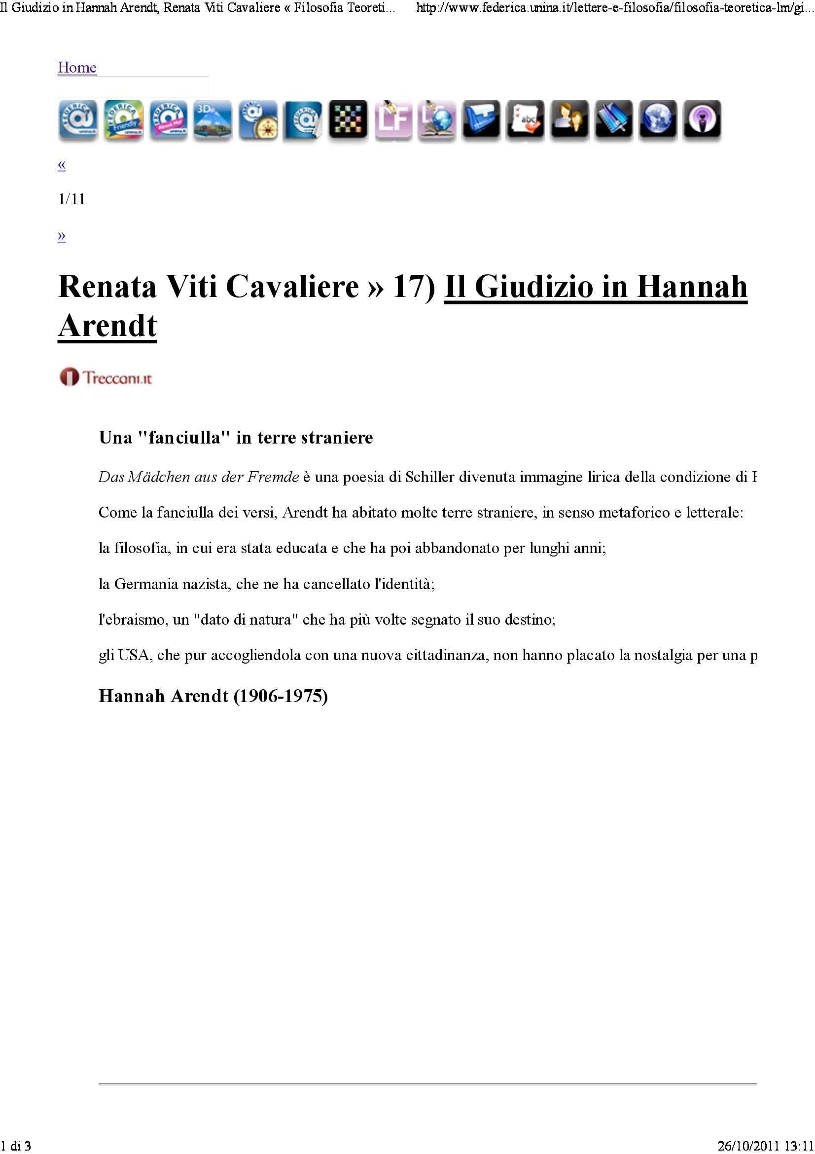 Giudizio in Hannah Arendt