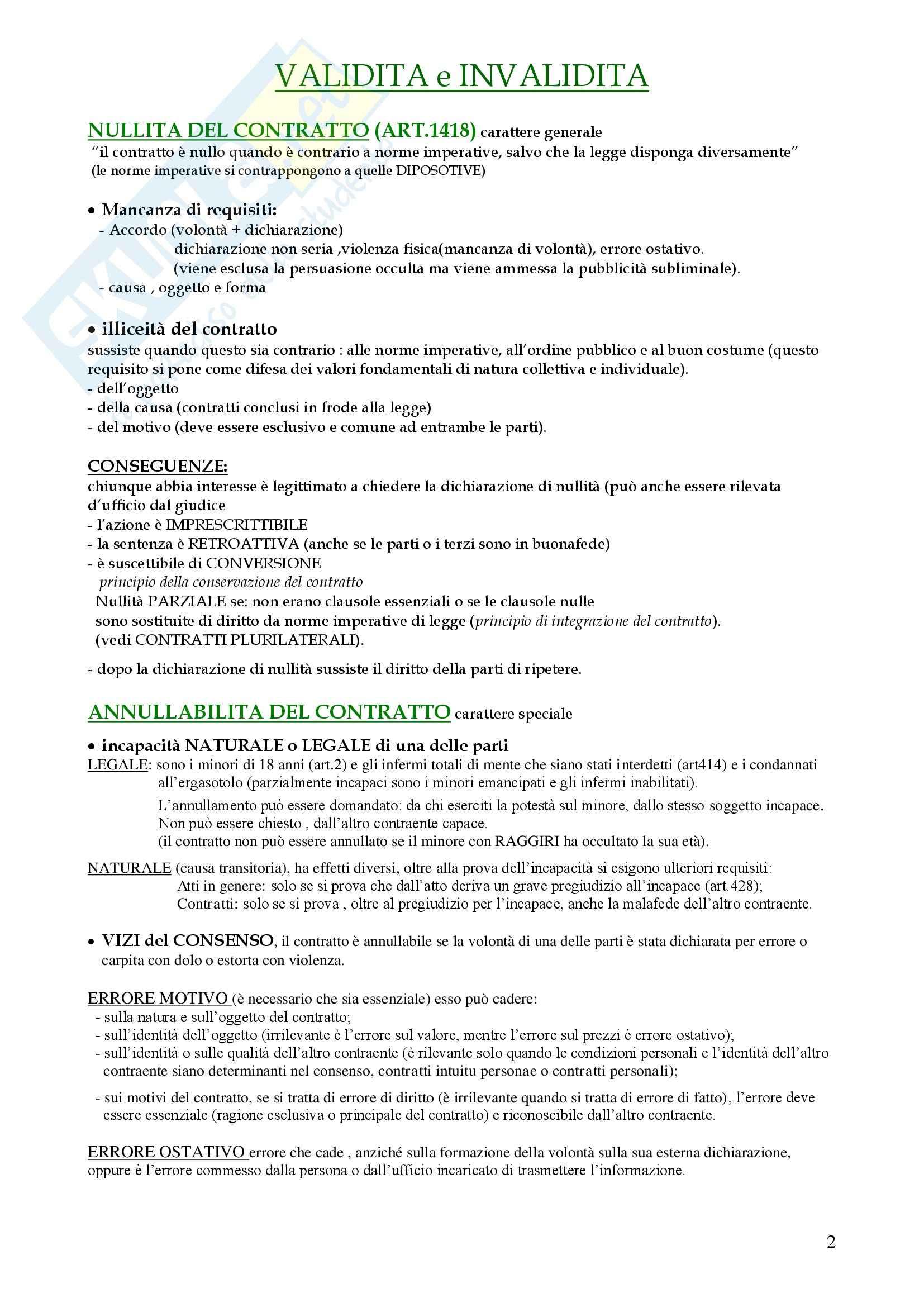Contratto nel Diritto privato - Appunti Pag. 2