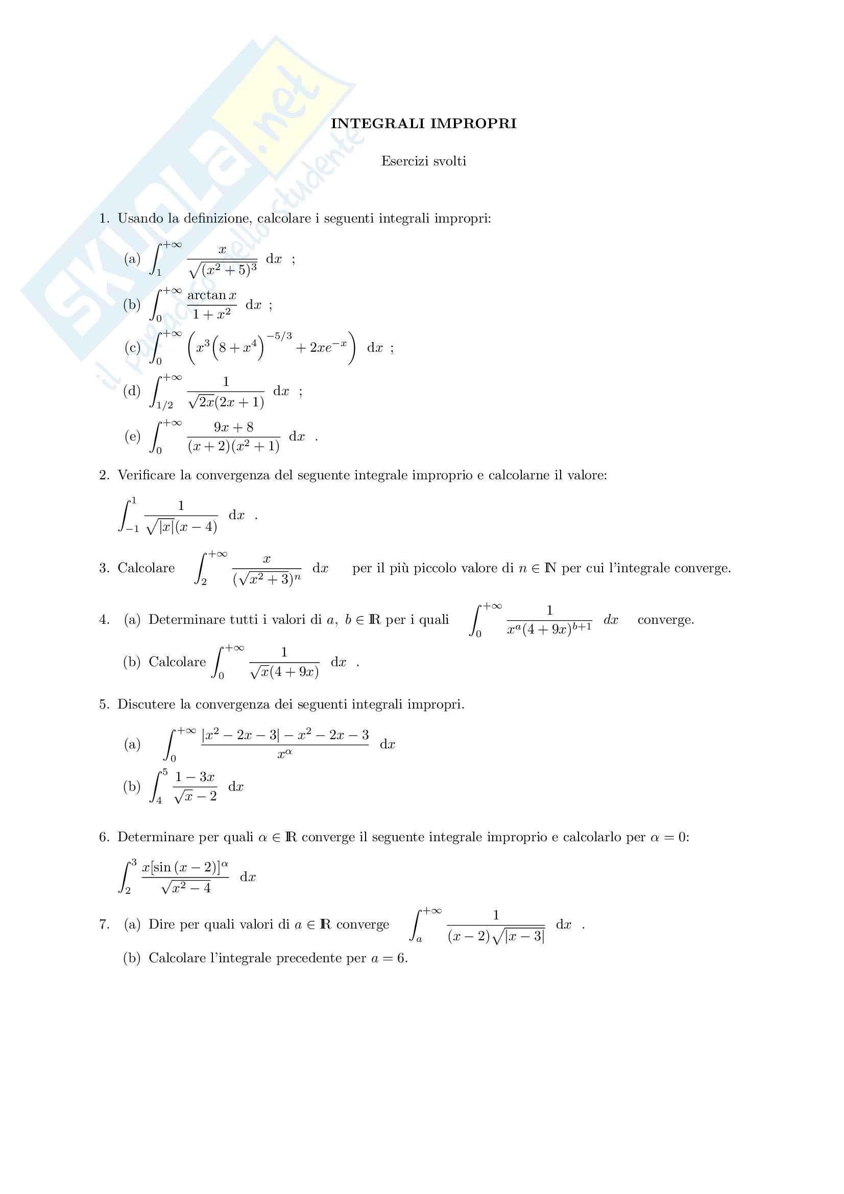 Esercizi sugli integrali generalizzati