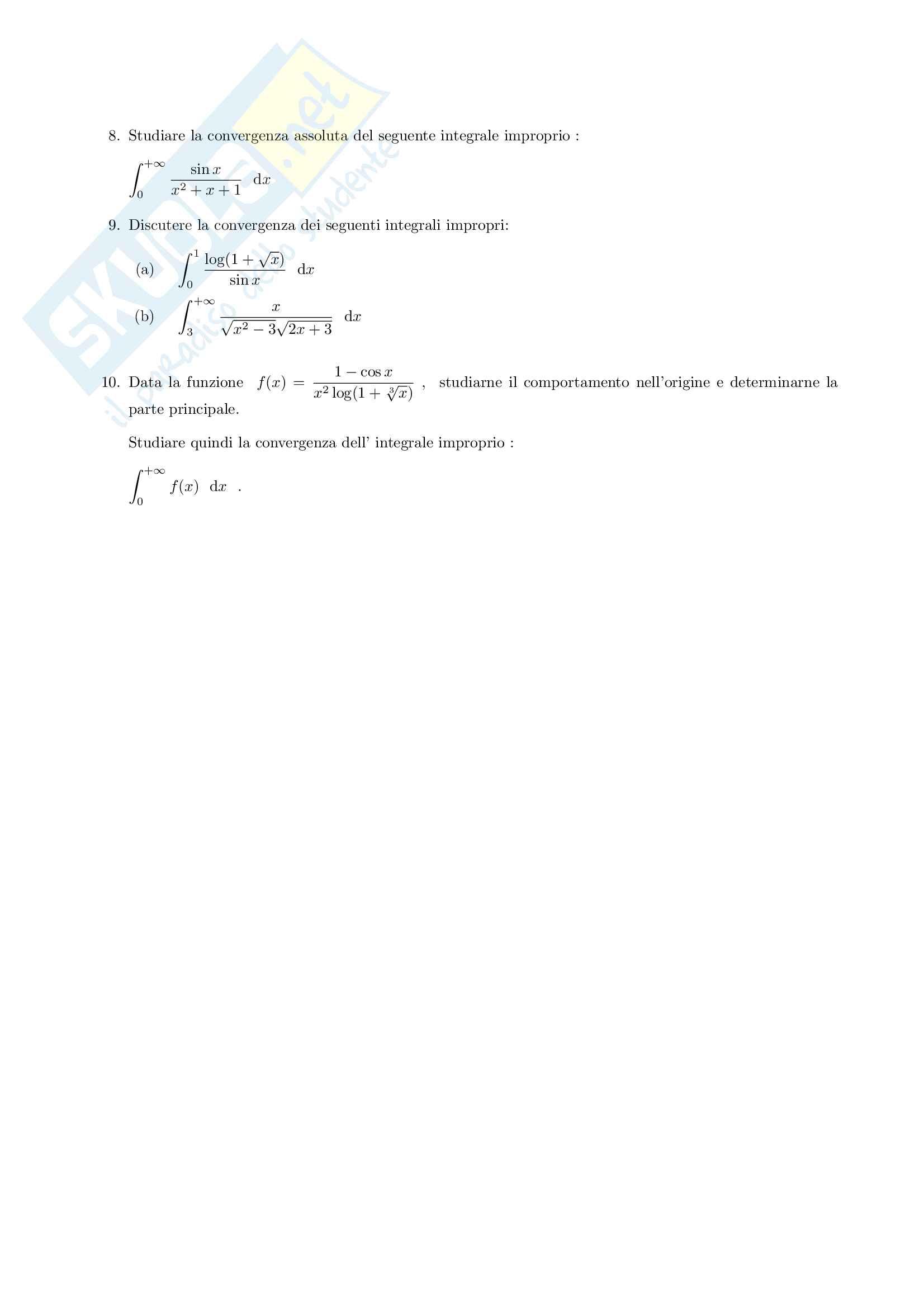 Esercizi sugli integrali generalizzati Pag. 2