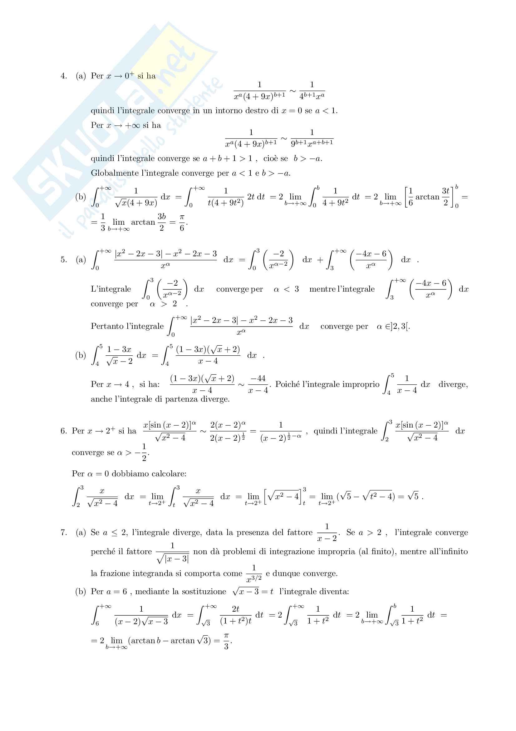 Esercizi sugli integrali generalizzati Pag. 6