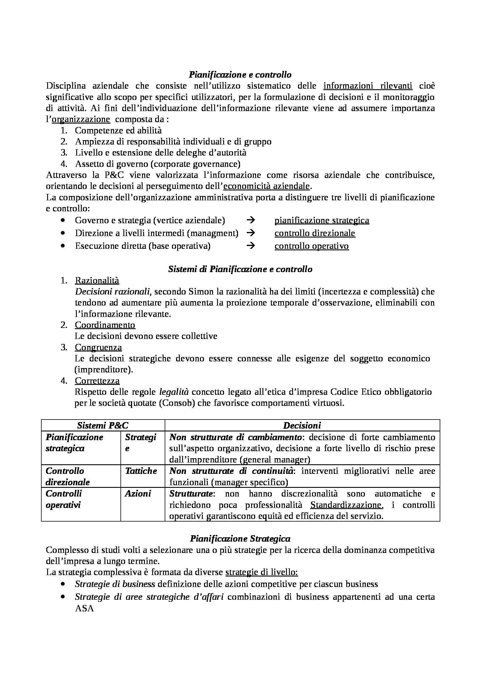 Pianificazione e controllo - Appunti