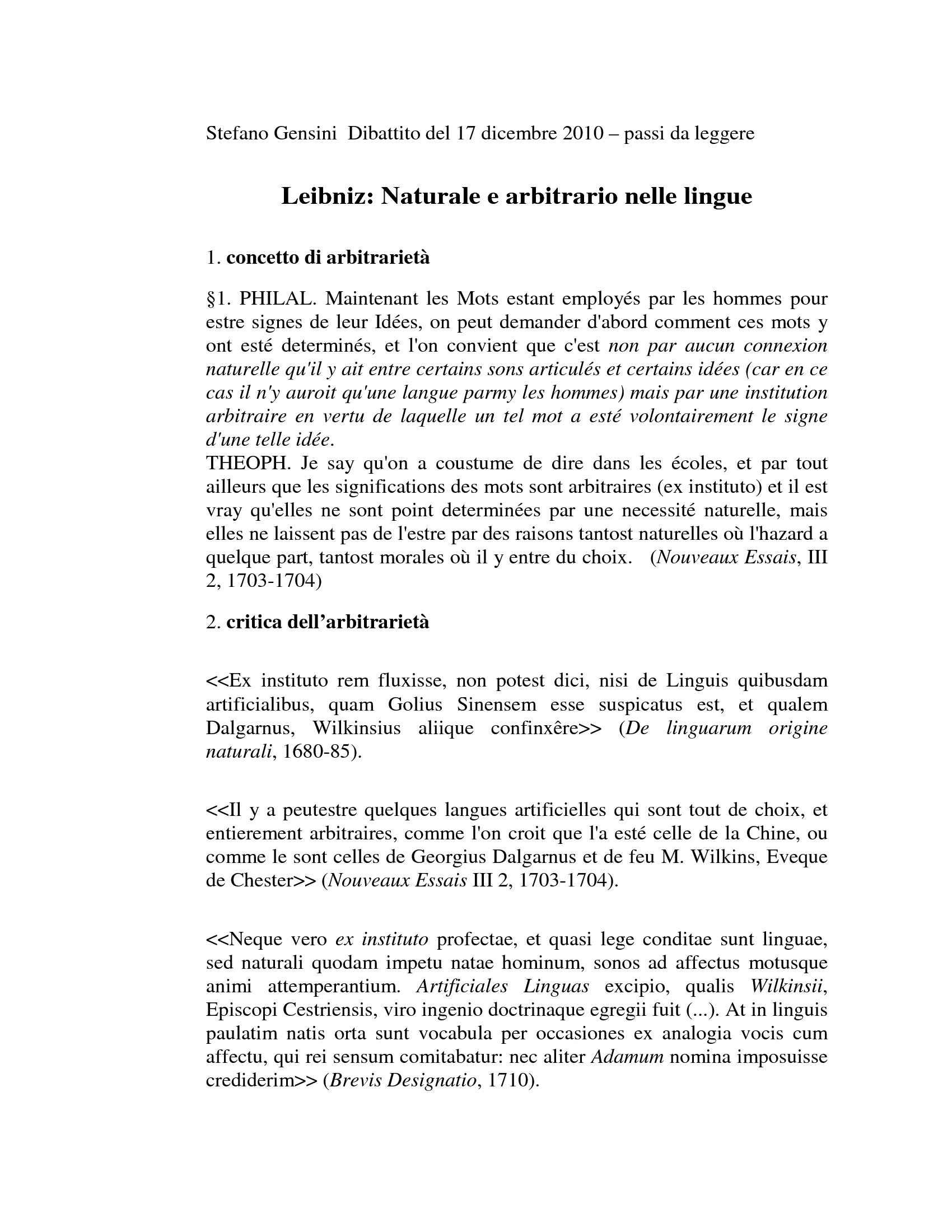 Leibniz - Naturale e arbitrario