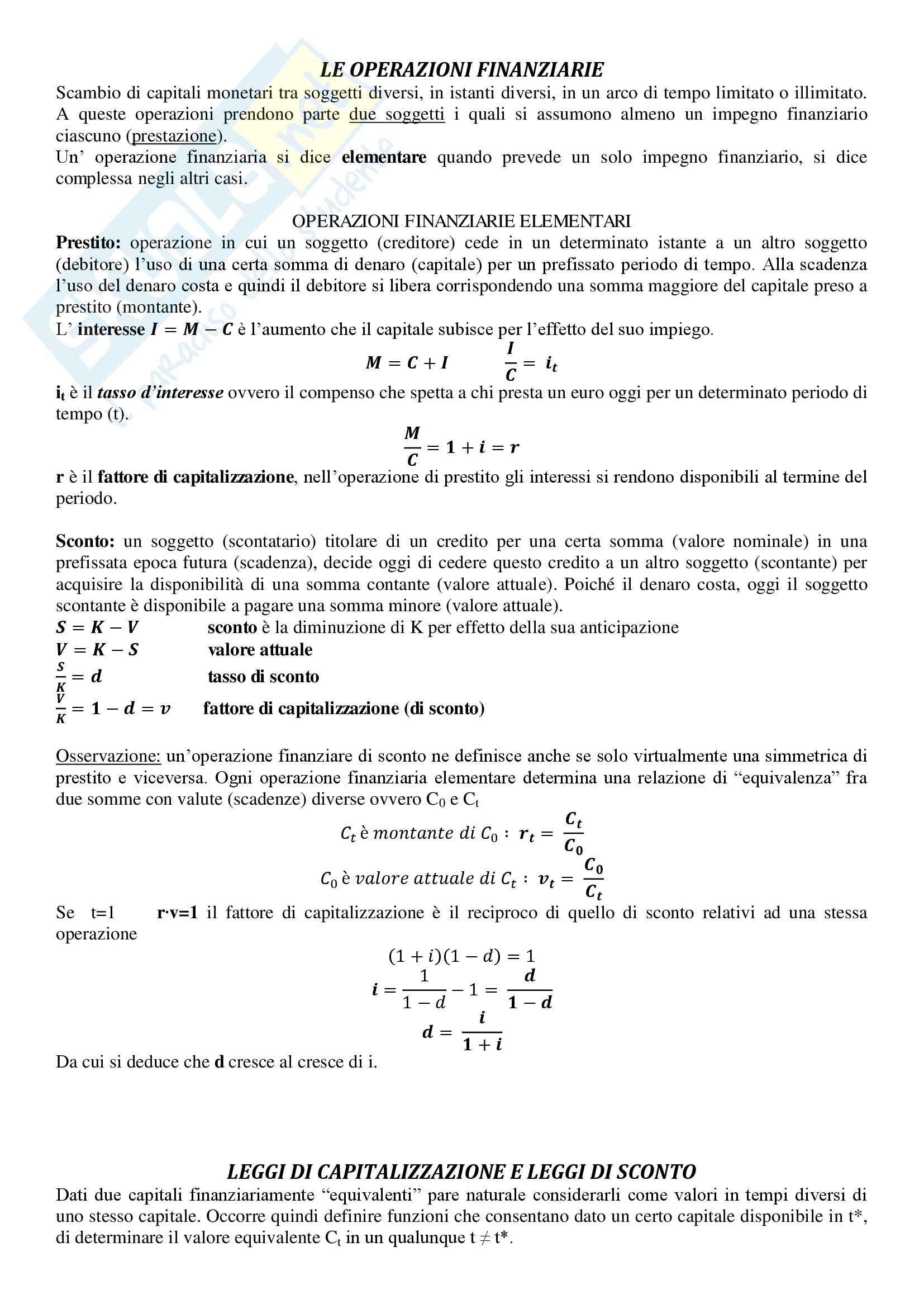 Matematica Finanziaria - Appunti
